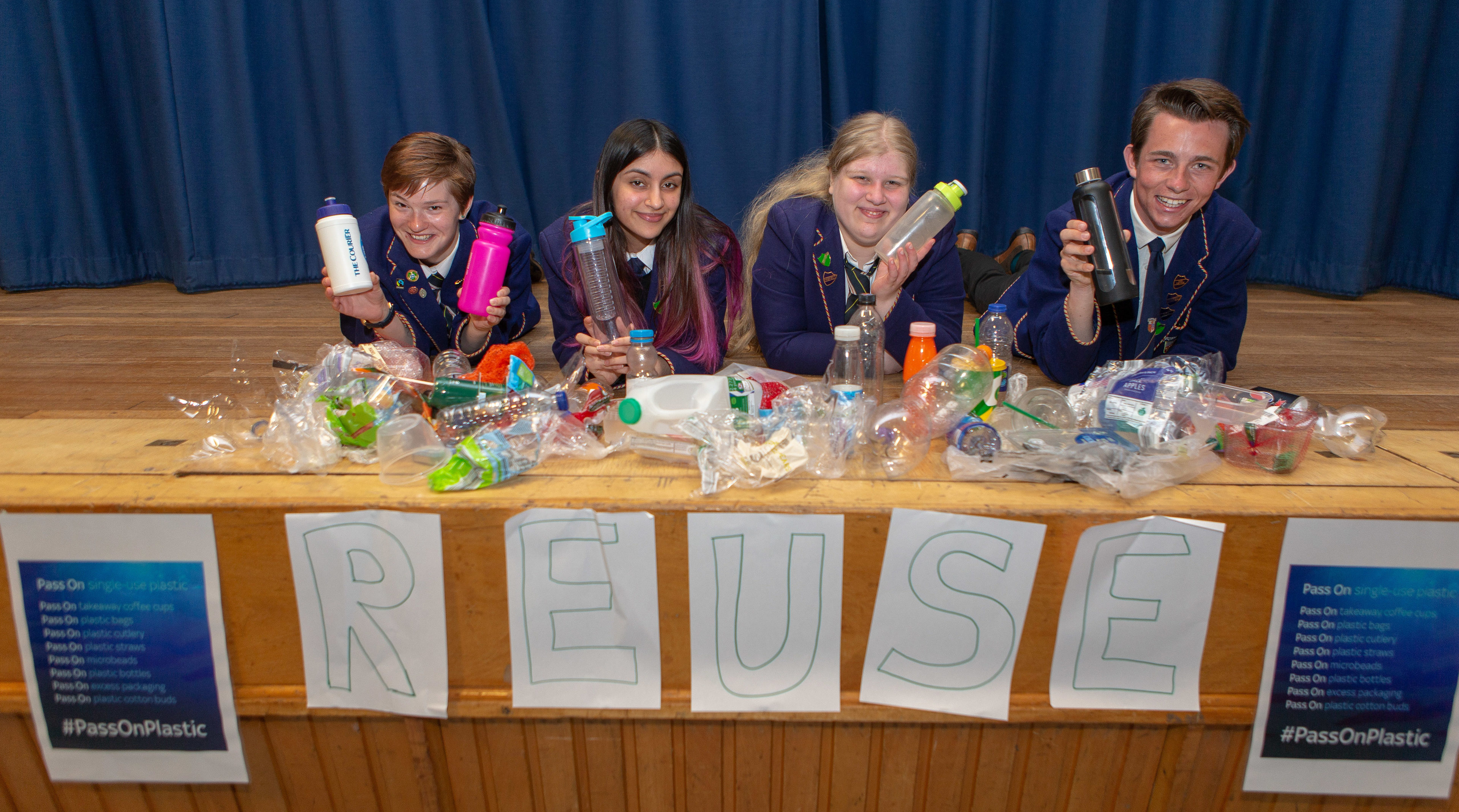 Courier News - Fife - Claire Warrender - Pass On Plastics Campaign story - CR0001468 - Cupar - Picture Shows: Left Charlotte Mofa (16), Rida Ashiq (17), Marije De Vries (17) and Cameron Drummond (17) of Bellbaxter High School with their Pass on Plastic campaign - Thursday 31st May 2018