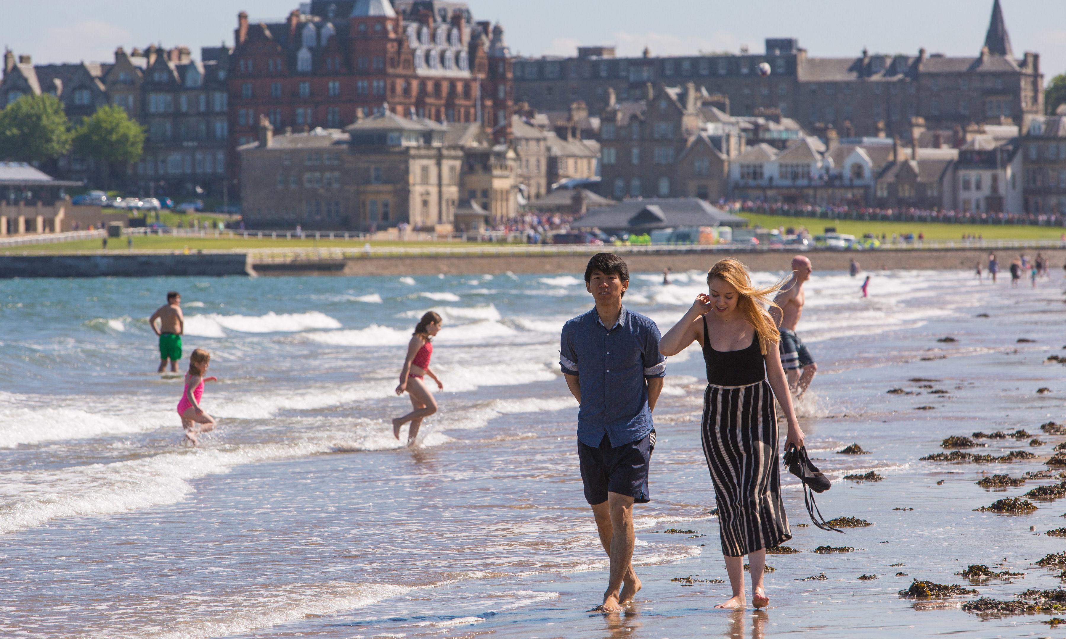 Locals enjoy the heatwave in St Andrews in May 2017.