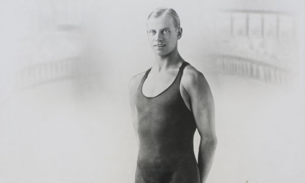 Olympic swimmer Arne Borg wearing the first Speedo outfit in  the 1920s.