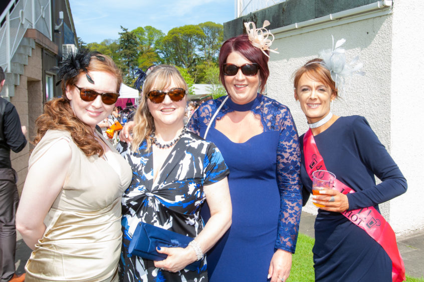 Lynsey Winchester, Moira Binnie, Pam Whyte and birthday girl Carrie Welch (all Cornhill Macmillan Nurses).