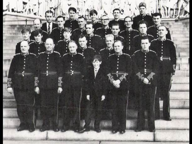 The band on the steps of the Albert Hall London, 1964. John Wallace back row, central, John Miller from row third from left wee boy too small for uniform