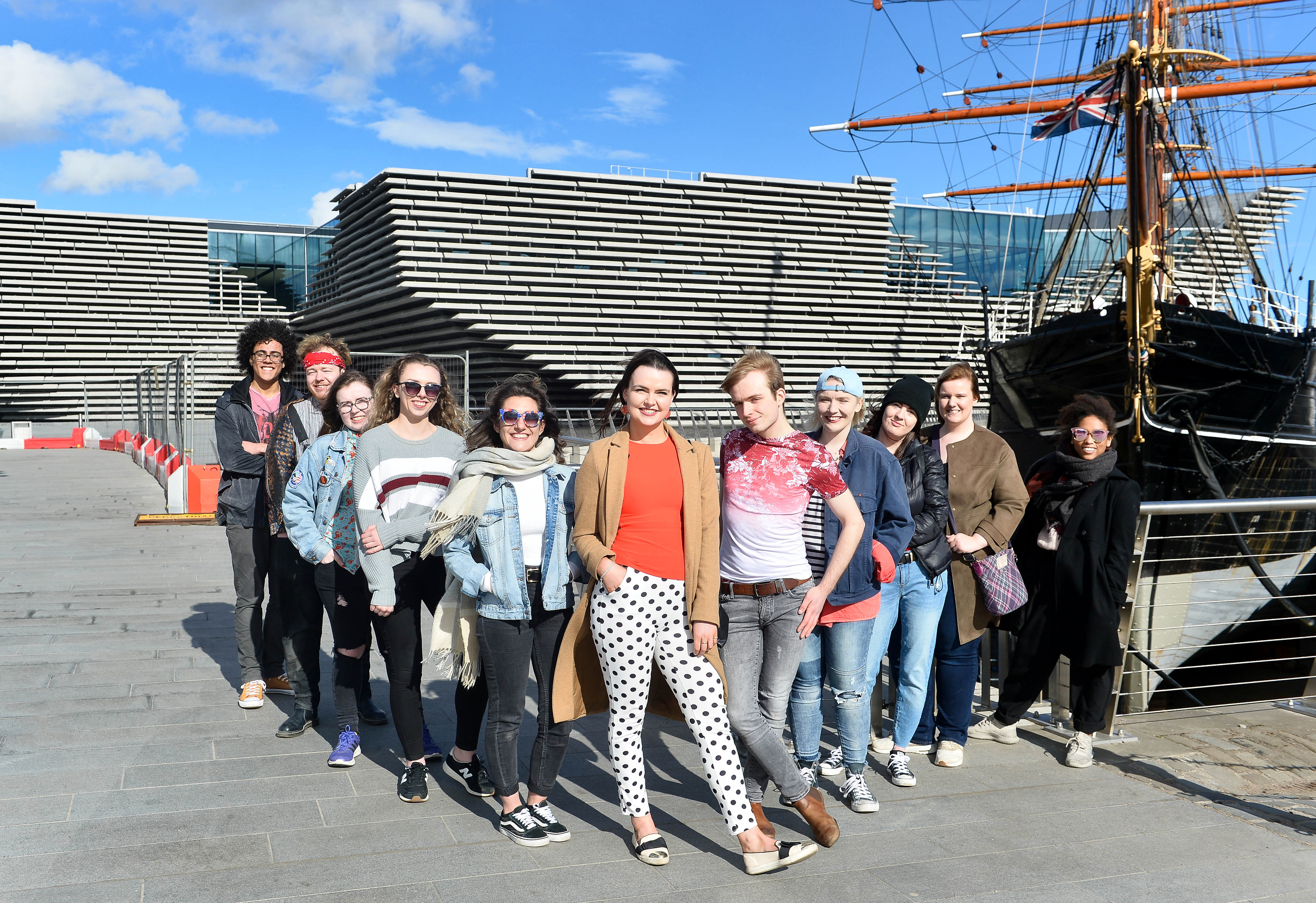 V&A Dundee's Young People's Collective outside the new museum.