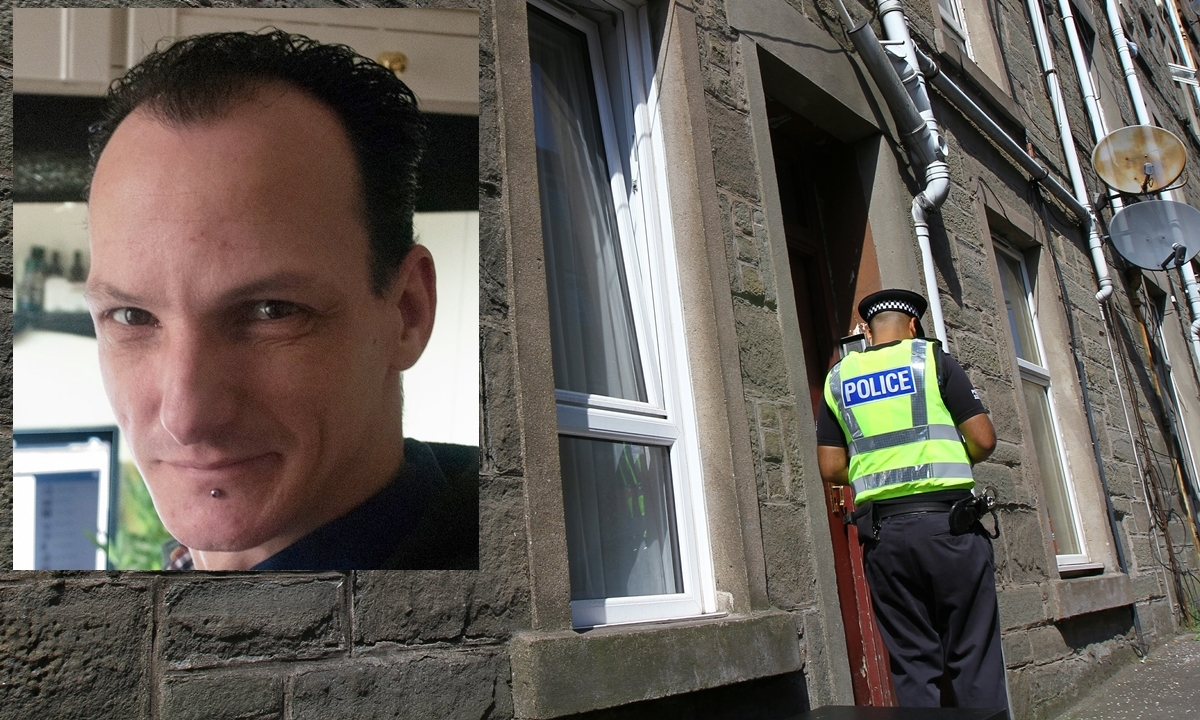Police outside a flat in Brown Constable Street after the death of Jeroen Van Neijhof (inset).