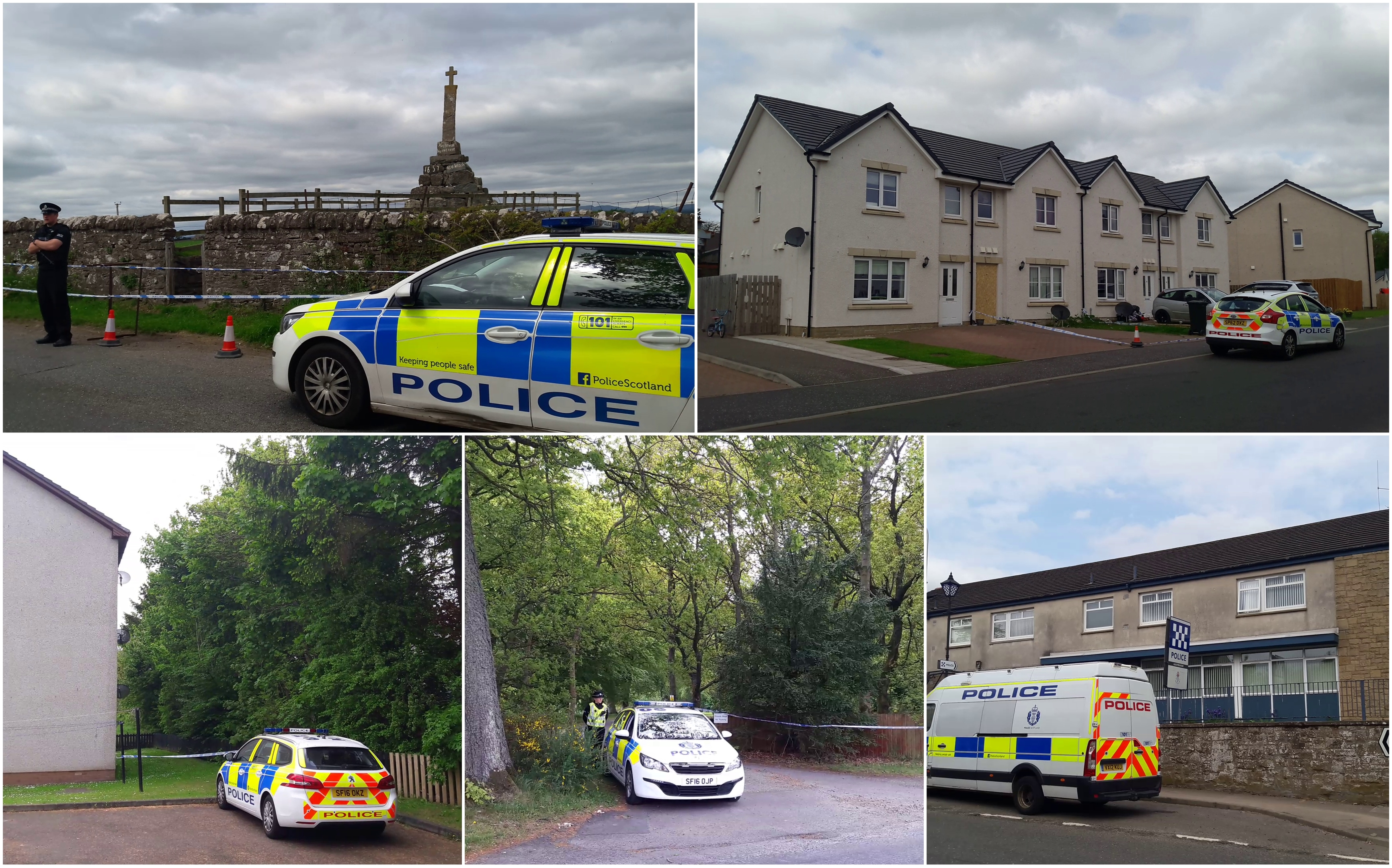 Some of the sites sealed off by police investigating the death of Annalise Johnstone.