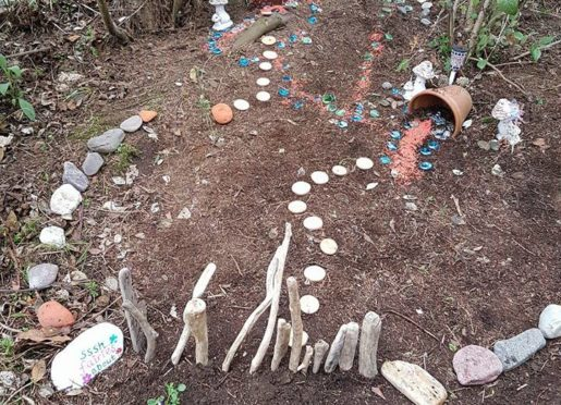 The fairy garden before it was trashed