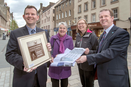 Alex Paterson, Chief Executive of Historic Environment Scotland, joins local business man Derek Paterson and Perth Heritage Trust's Sue Hendry and Sara Carruthers.