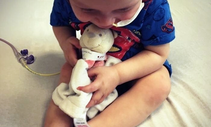 Little Lochie and Pooh Bear have been inseperable throughout the brave toddler's treatments.