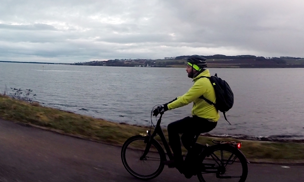 Mark Asquith crusing home during his e-bike trial.