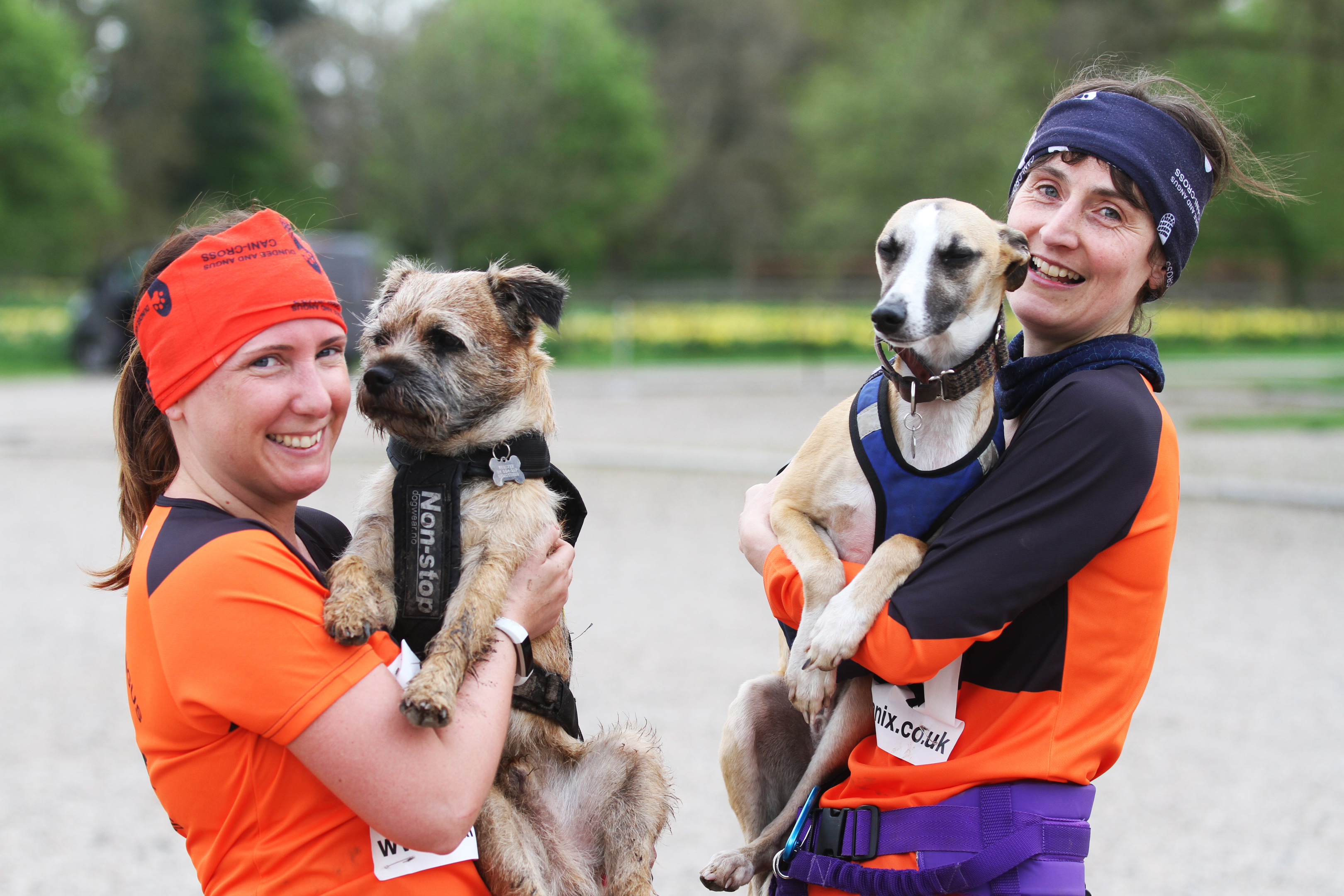 Anne-Marie Webster with Ollie the Border Terrier and Jennifer Lee with Brock the Whippet, from Dundee and Angus CaniX.