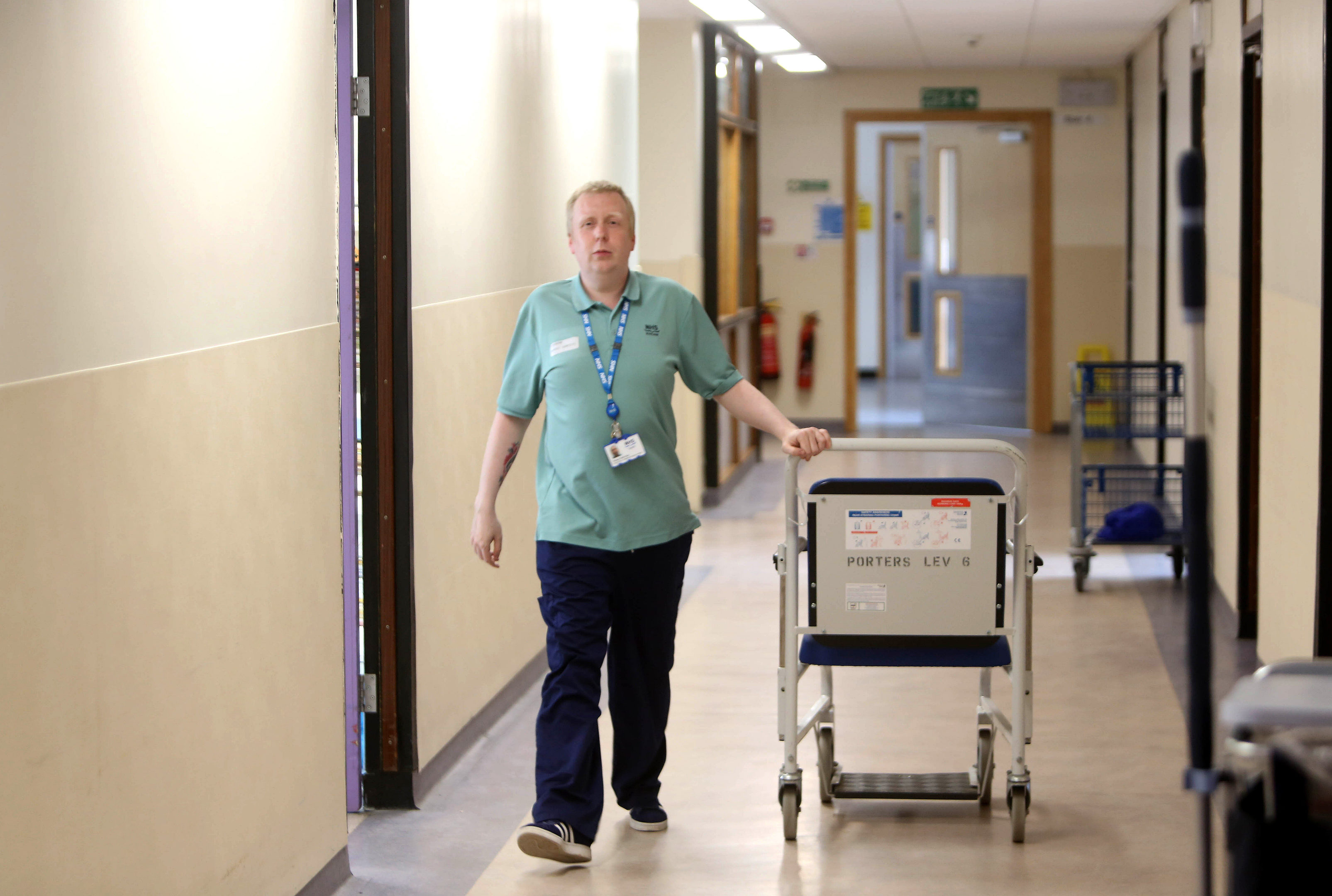 Porter Alistair McRobb who has worked at Ninewells for four years
