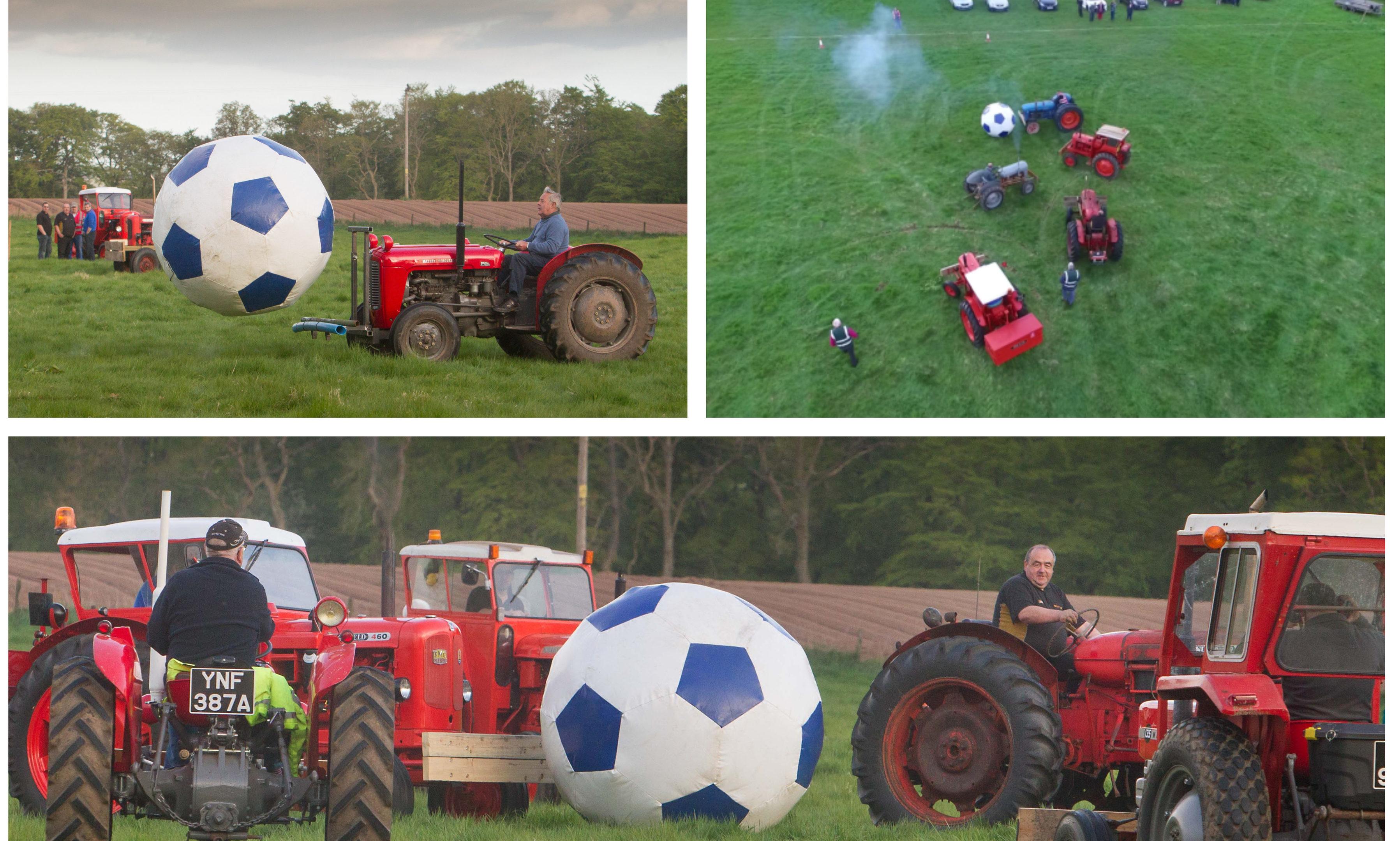 Tractor football in Fettercairn