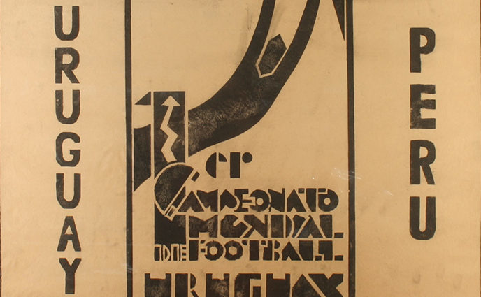 A poster from the 1930 World Cup, designed by Guillermo Laborde.
