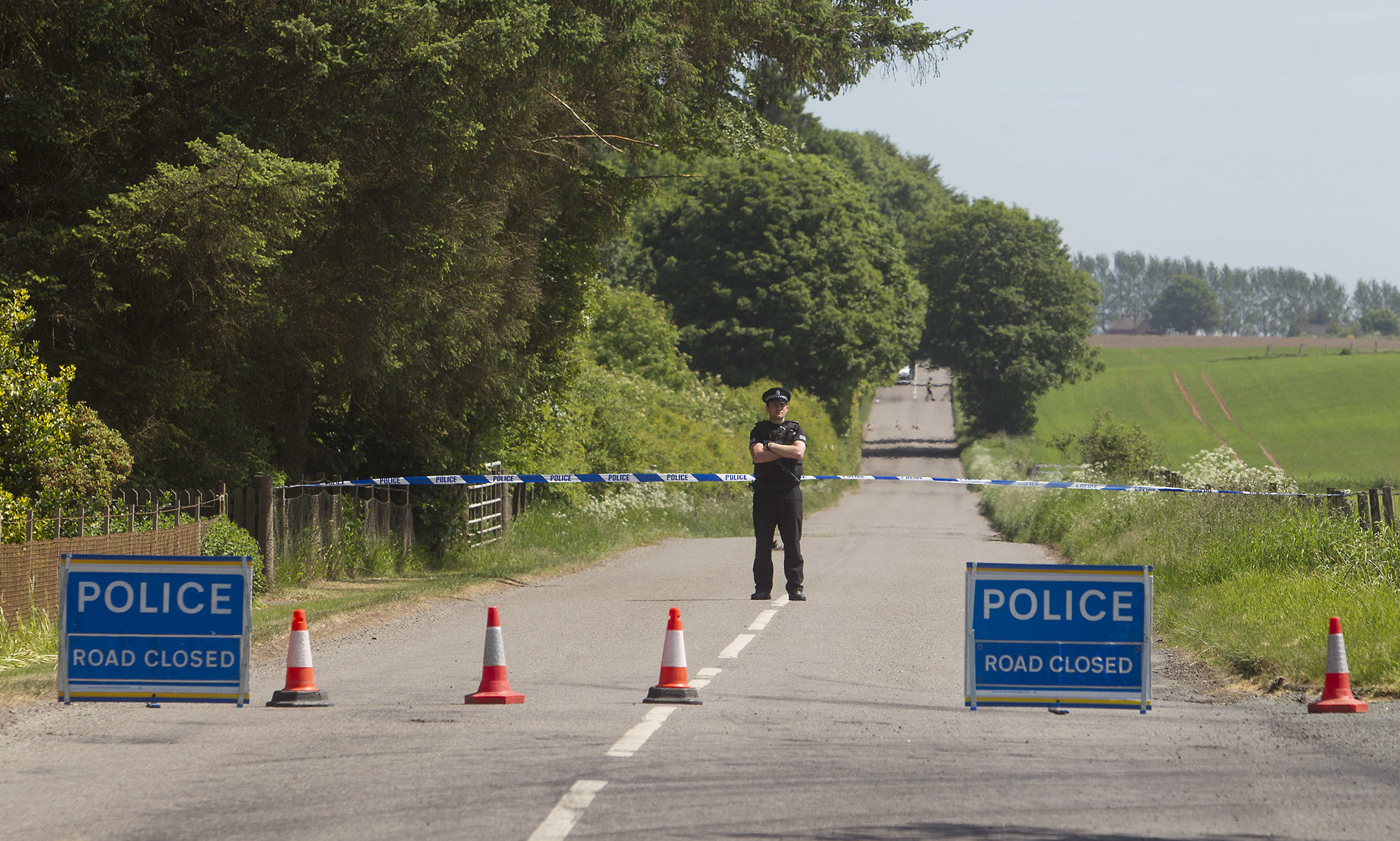 Police at the scene after body found Loch of Kinnordy Nature Reserve.