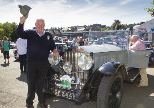 David Henderson from forfar with his Rolls Royce, the first car to head off