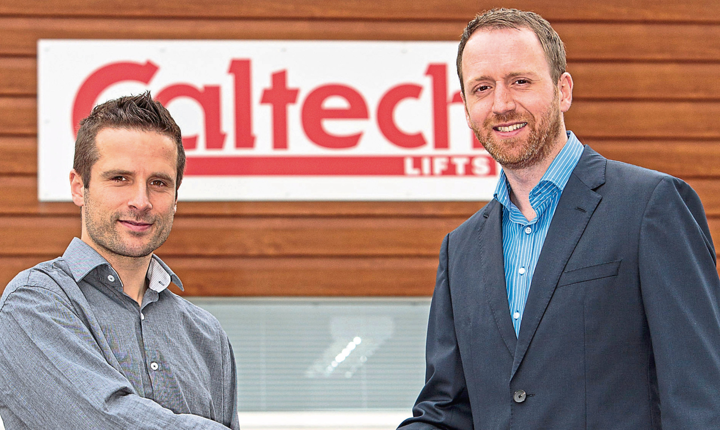 Caltech Lifts Managing Director Andrew Renwick (right) welcomes Scott Murray to the company.