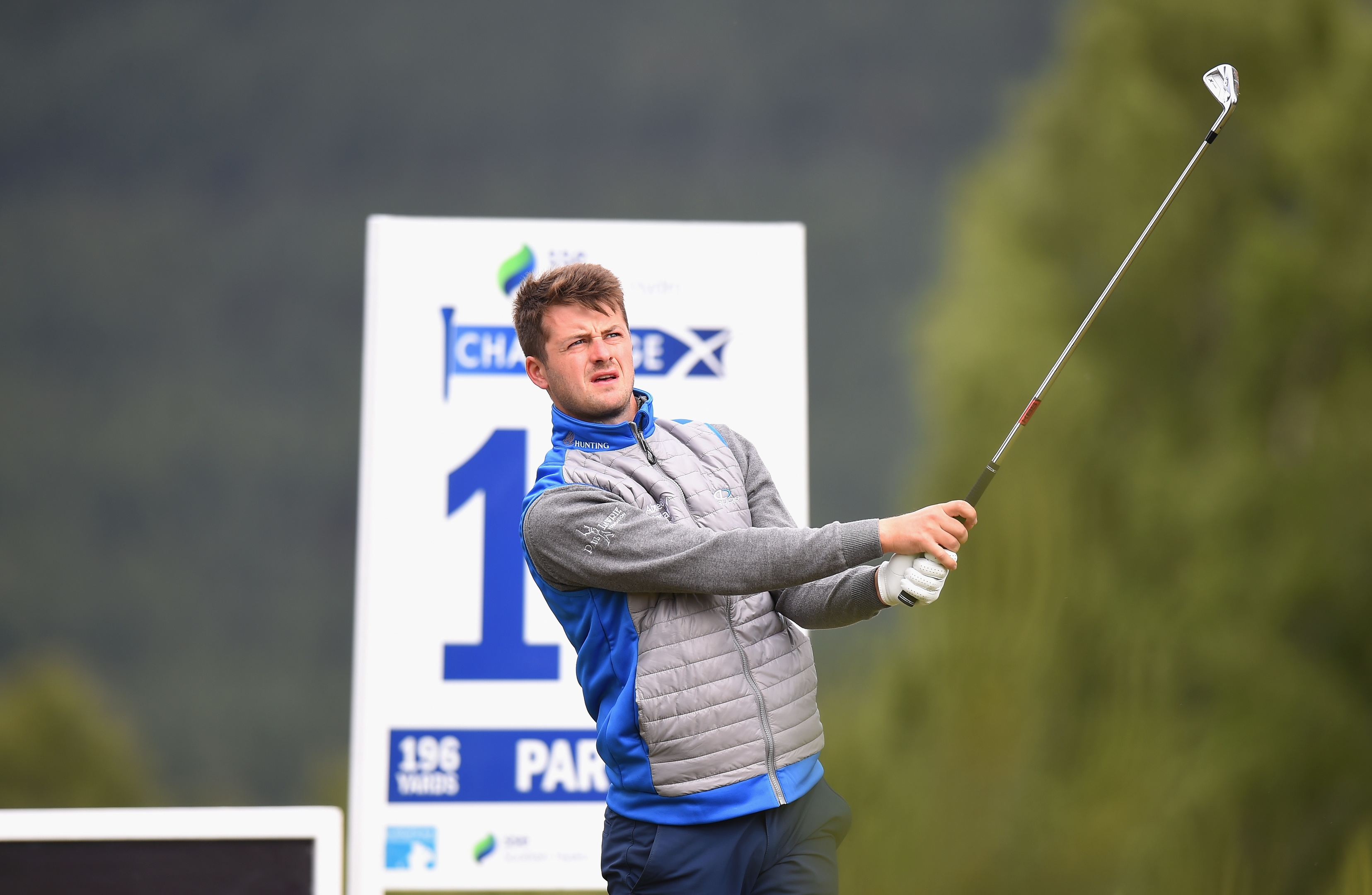 David Law watches his tee shot at the 10th at Spey Valley.