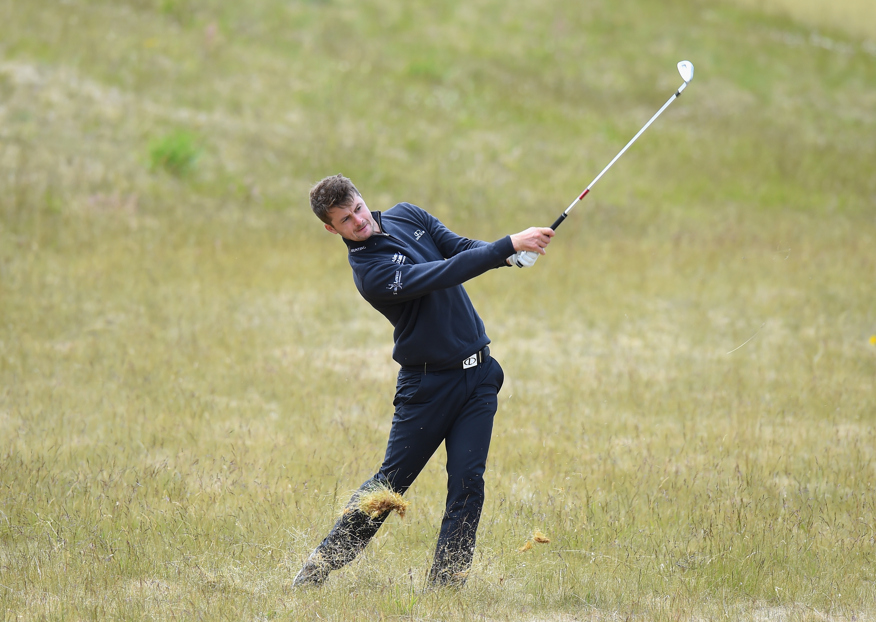 David Law plays his second shot out of the rough on the 3rd fairway during Day Two of the SSE Scottish Hydro Challenge hosted by Macdonald Hotels and Resorts at Macdonald Spey Valley Golf Course.