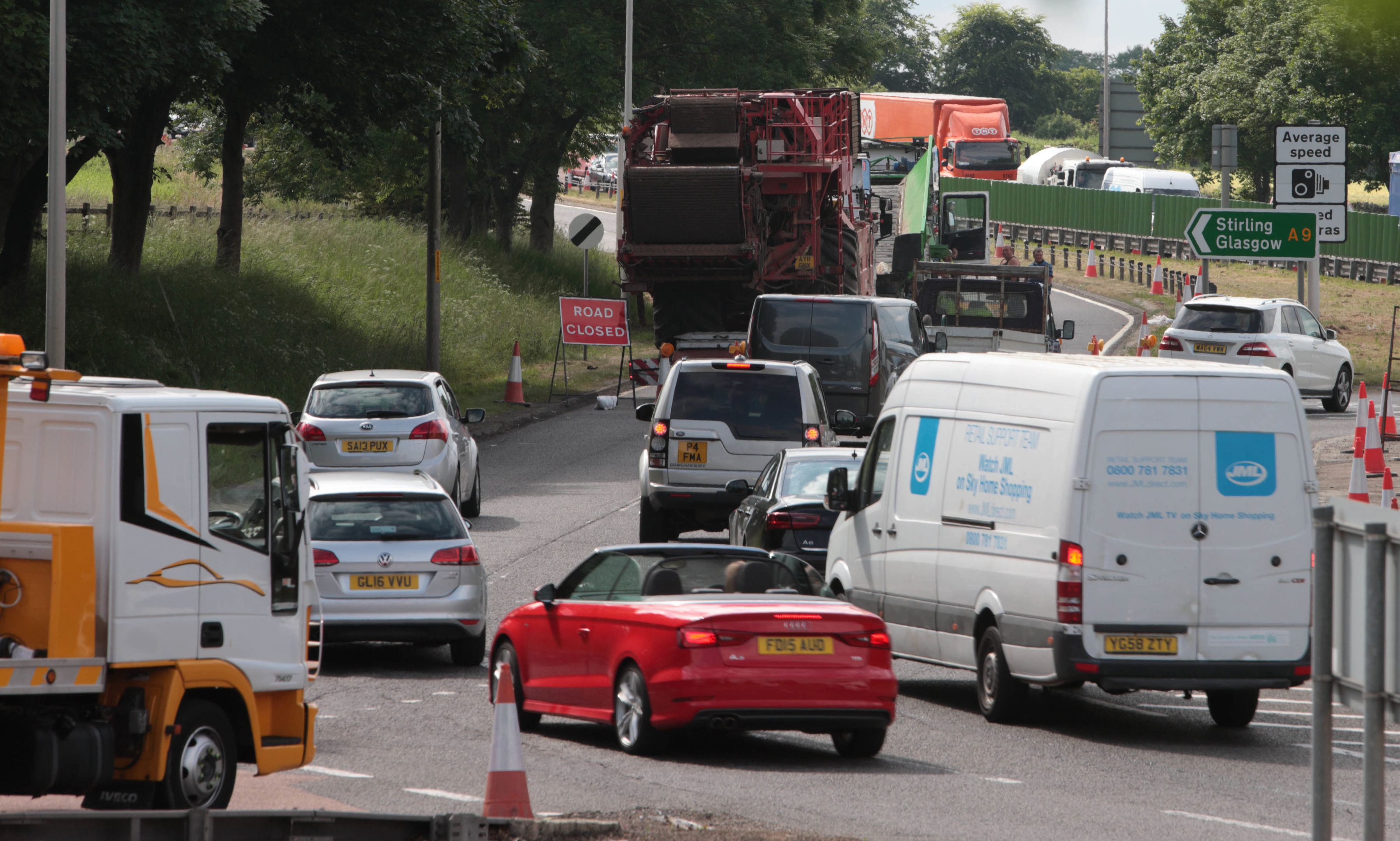 Traffic at Broxden, Perth, following the crash in June last year.