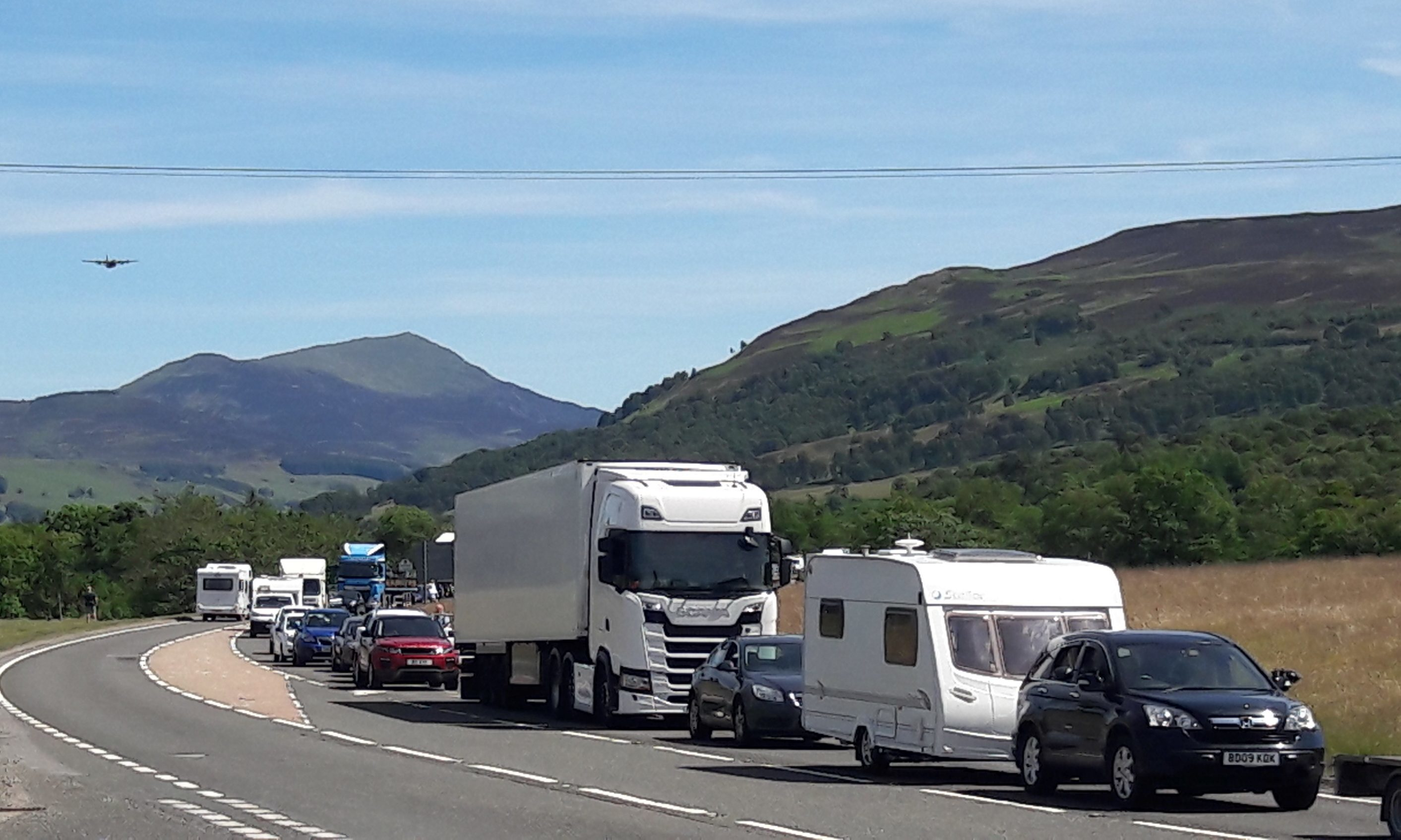 Traffic building up on the A9 at Blair Atholl