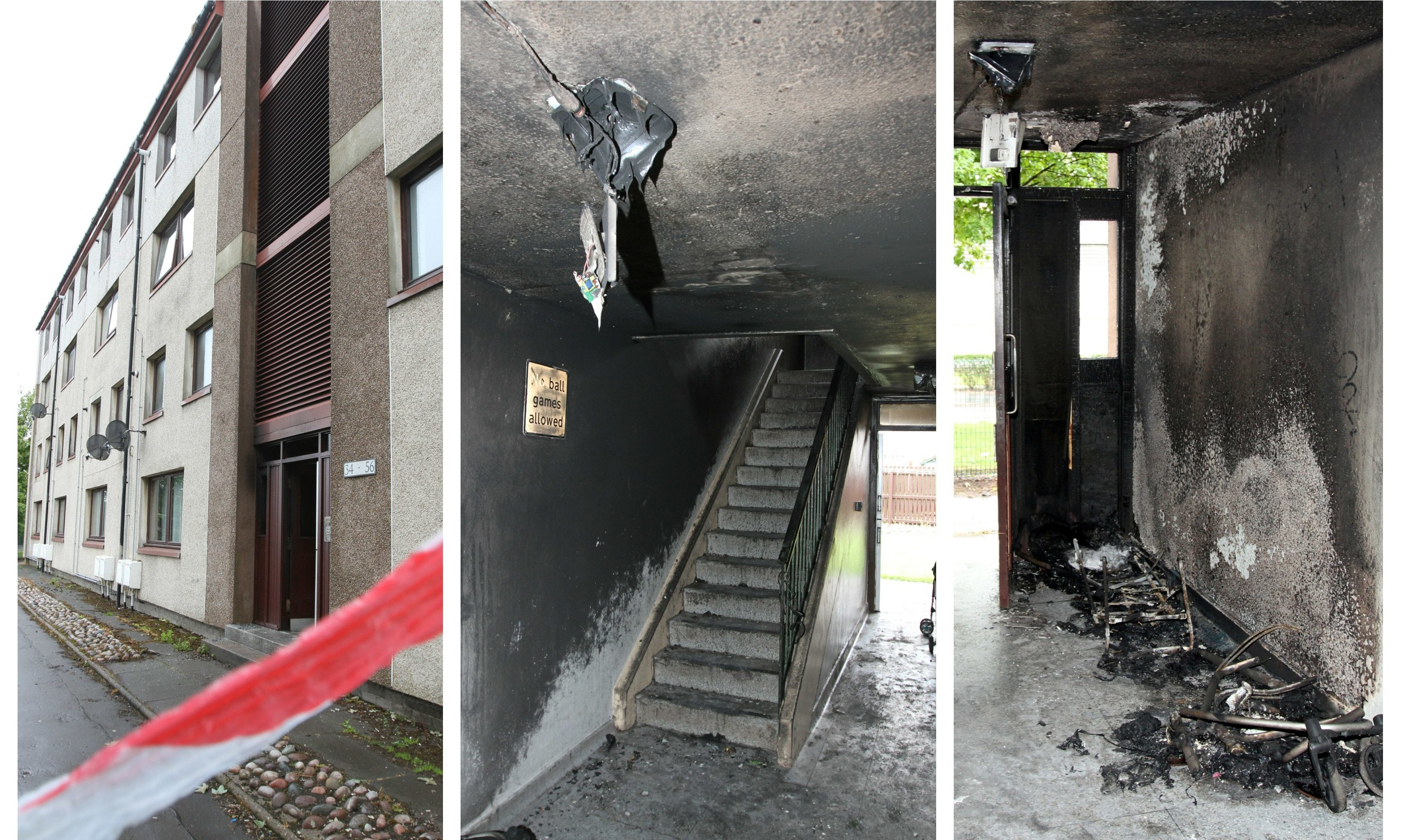 The fire caused extensive damage at Fraser Place in Arbroath.
