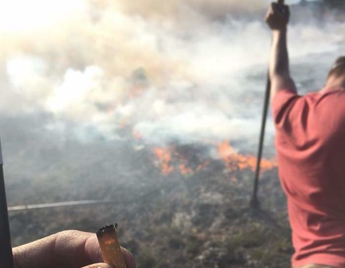 Angus gamekeepers tackling the blaze on the Invermark Estate.