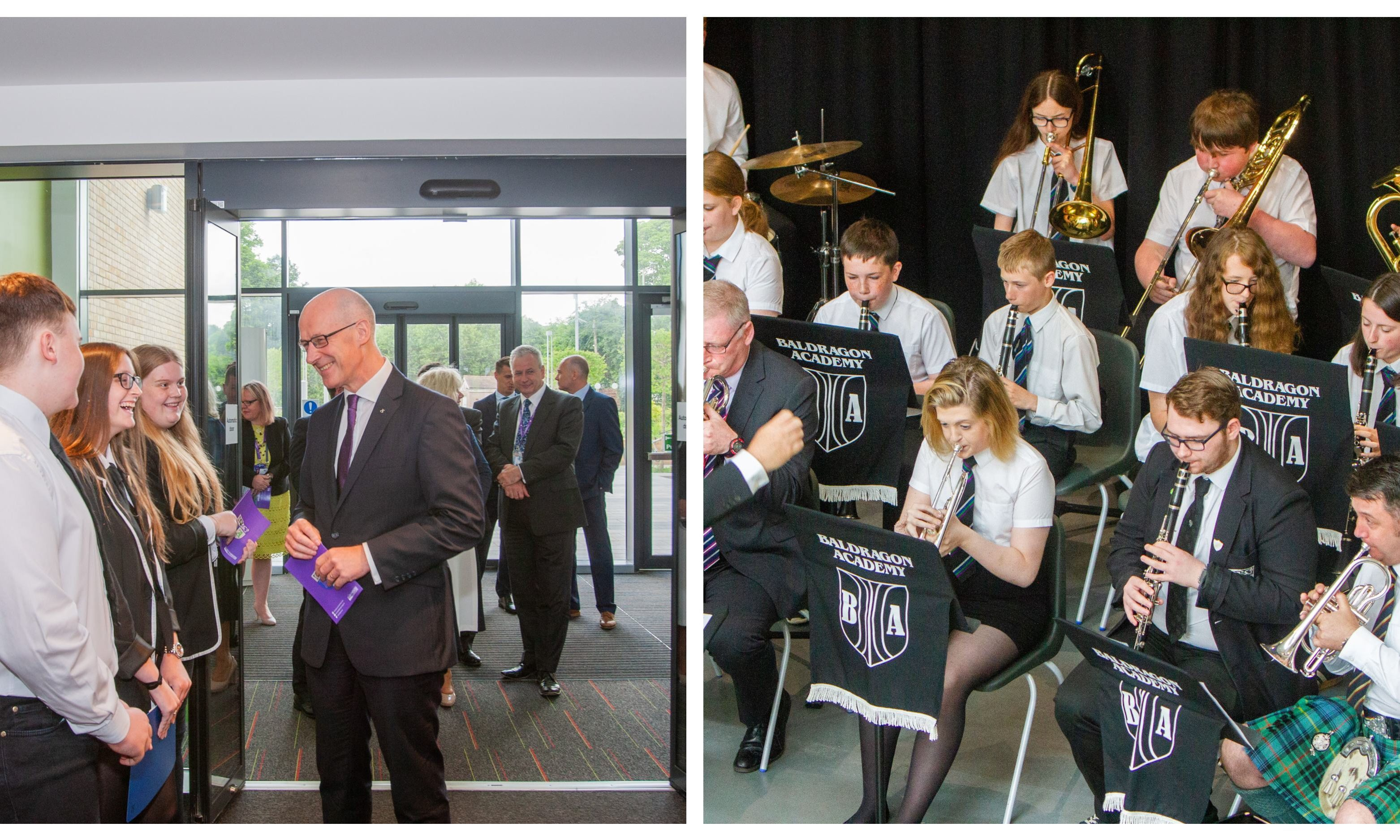 John Swinney at the official opening of the new Baldragon Academy