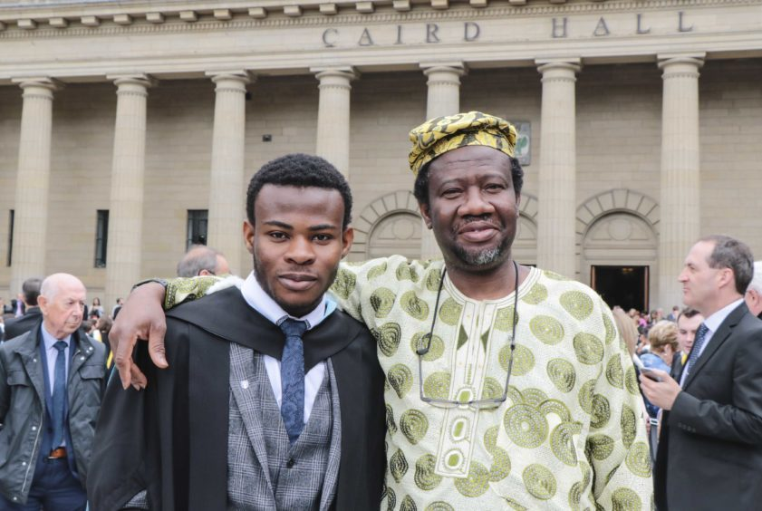 Sulaiman Badmus (left) with his father Abdulwaheed.