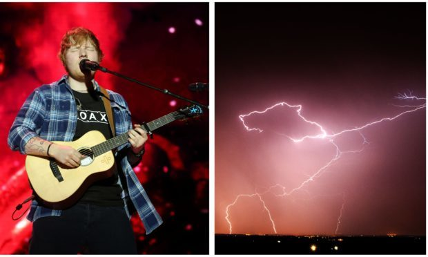 Thunderstorms could affect Ed Sheeran's shows in Glasgow this weekend