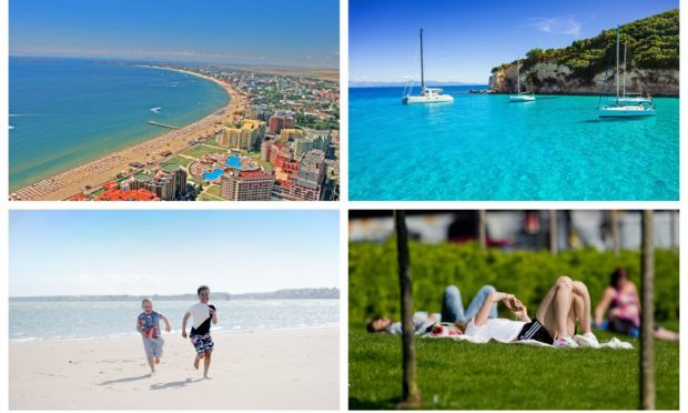Scotland could be hotter than Sunny Beach, Bulgaria (top left) and Corfu (top right). Also pictured: Broughty Ferry beach (bottom left) and sunbathers in Glasgow  (bottom right).