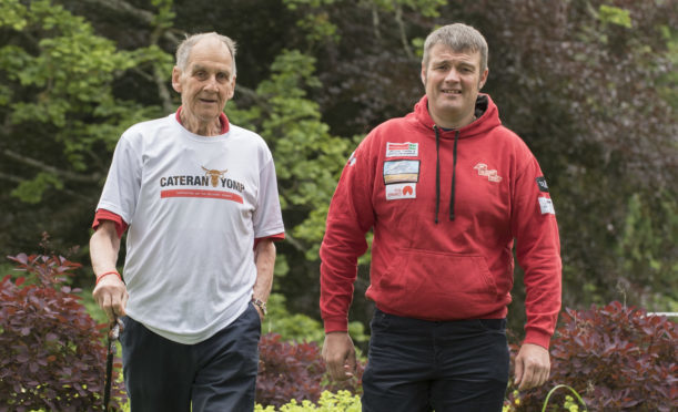 Major Andrew Wedderburn, the Yomp's oldest participant at 84 years old, with Yomp 2018 ambassador Les Binns.