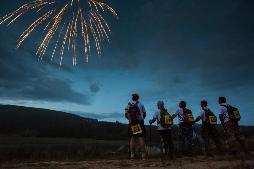 Walkers enjoying fireworks
