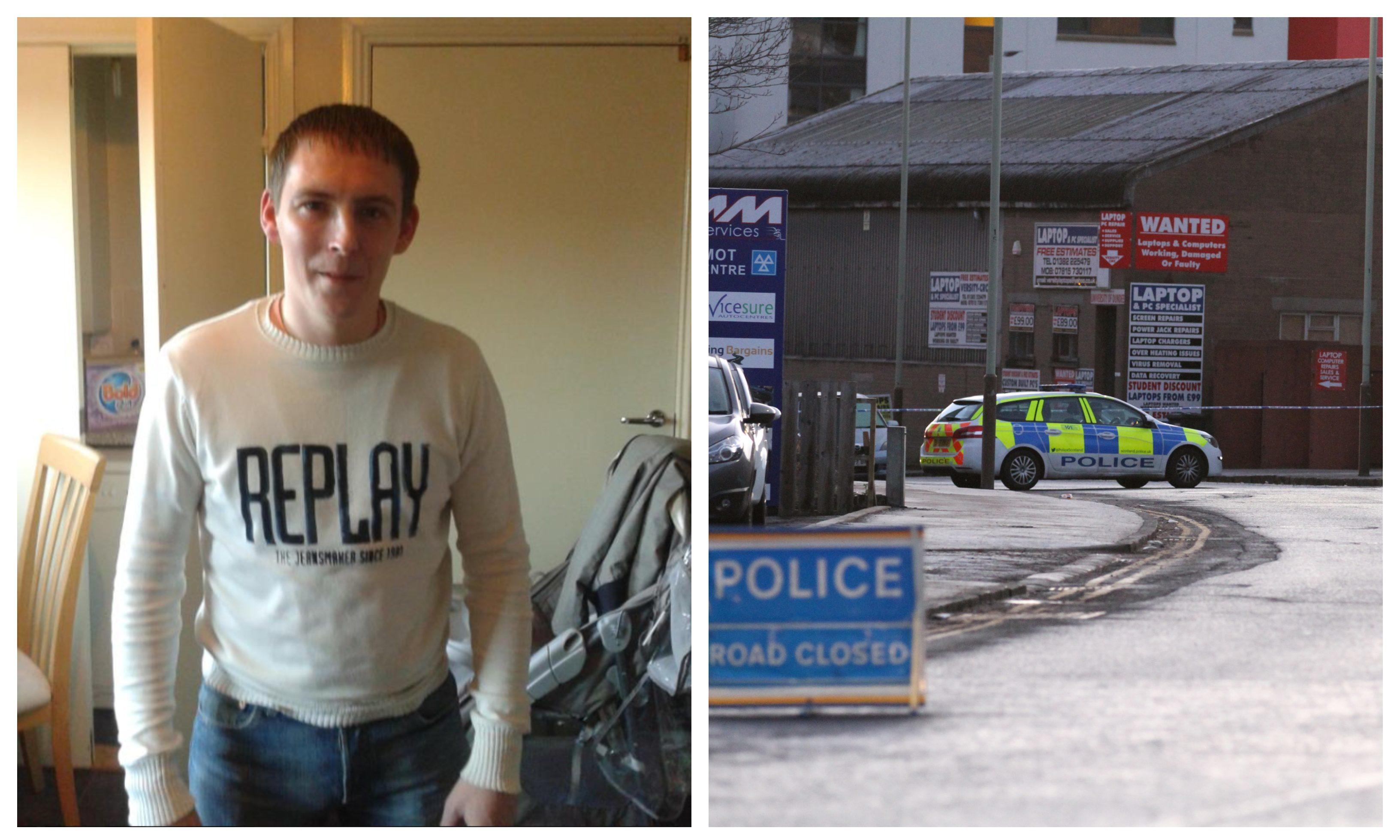 Rapist Mark Arnott and police at the scene last year