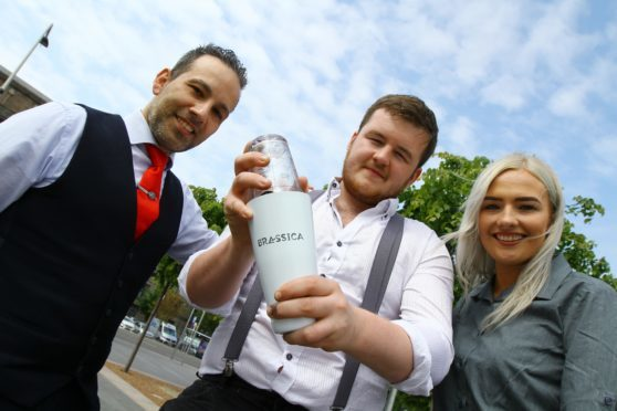 Nikos Matsikas - general manager of Brassica, Stuart Carr - barman, with his thermal cocktail shaker, and Leoni Robertson - hostess,