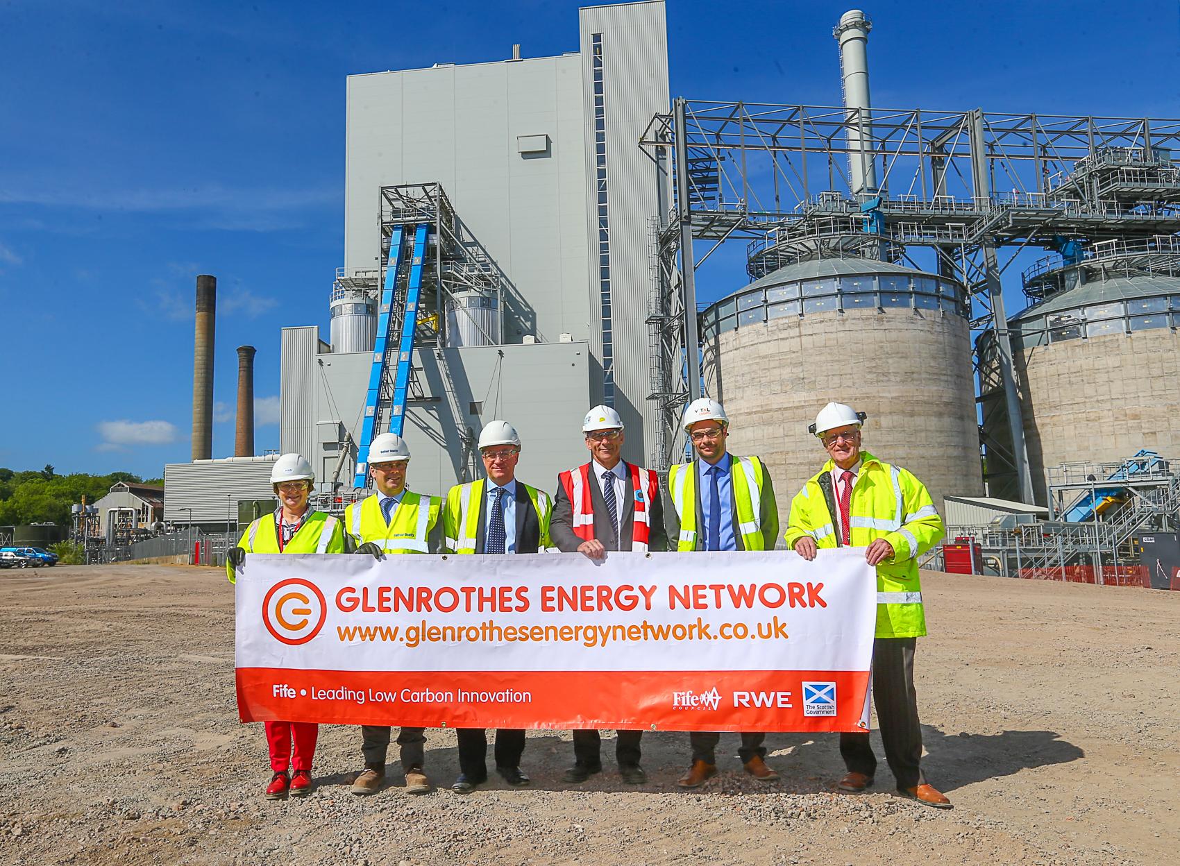 Councillor Fiona Grant, Stephen Scott (Balfour Beatty), Steve Hicks (RWE), Mark Picton (RWE), Scott Lutton (Vital Energi) and Councillor Ross Vettraino mark work starting on Glenrothes Energy Network.