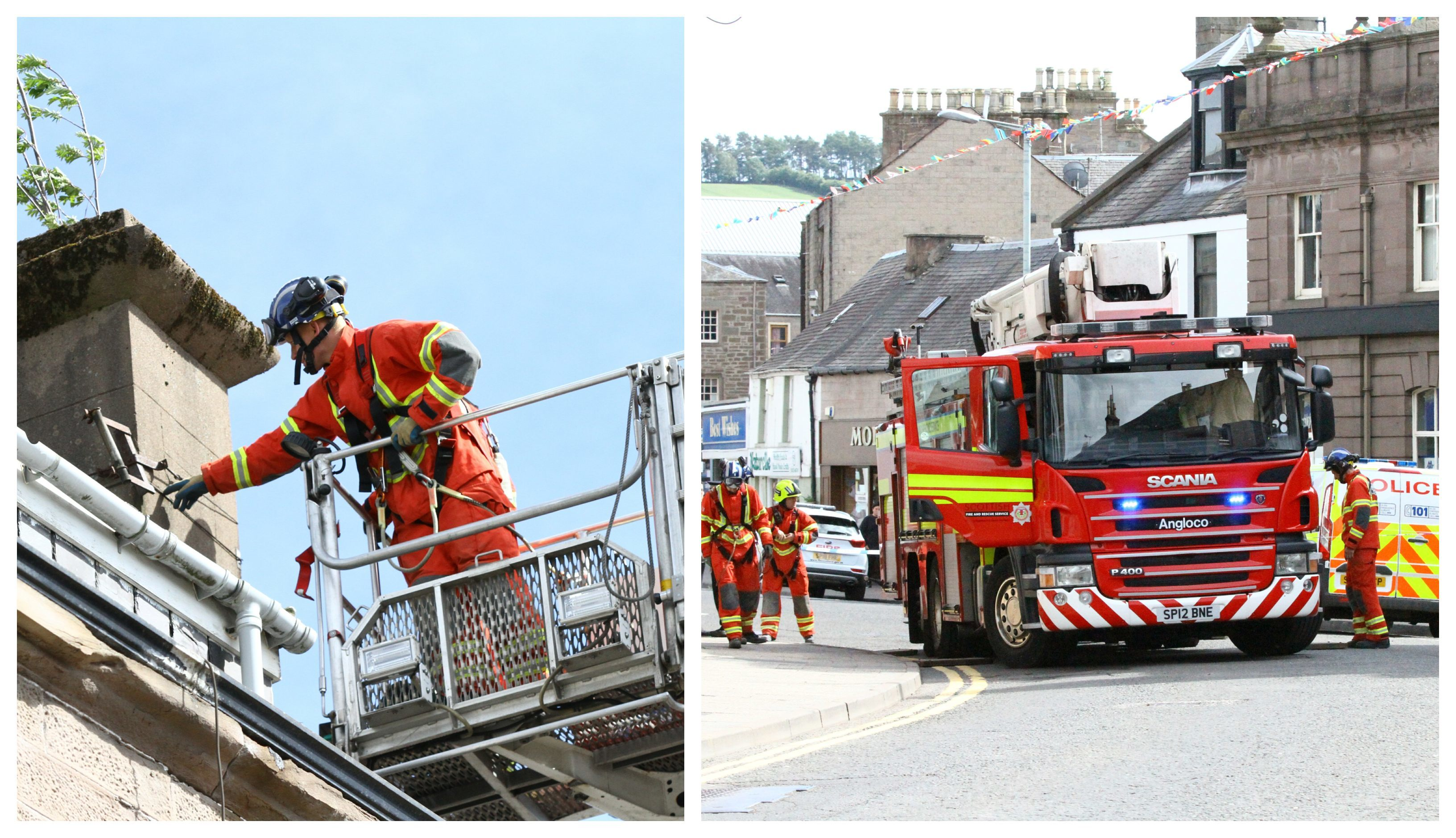 Firefighters at the scene of the incident on Castle Street, Forfar.