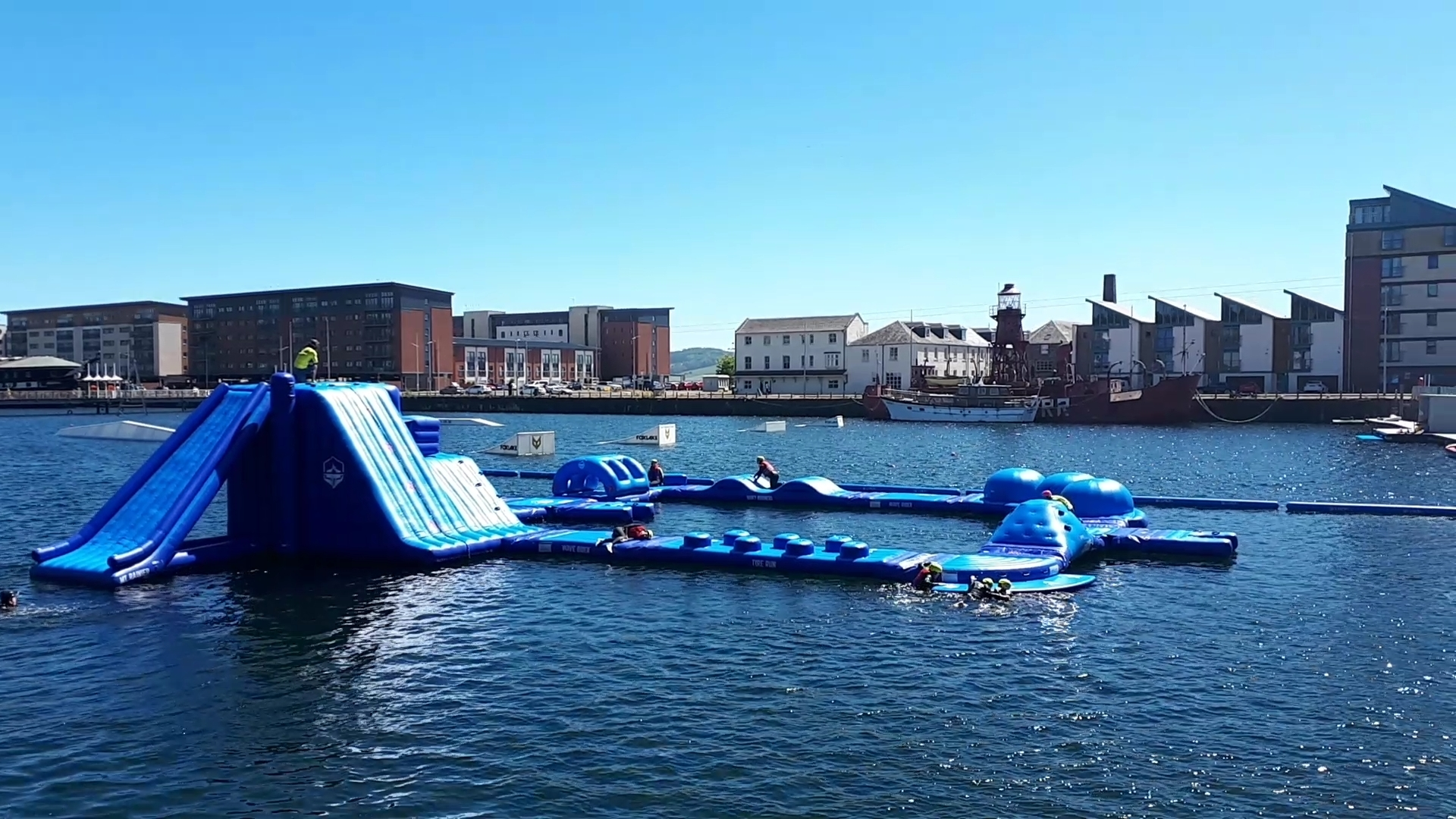 The new aqua park opened on Saturday morning at City Quay