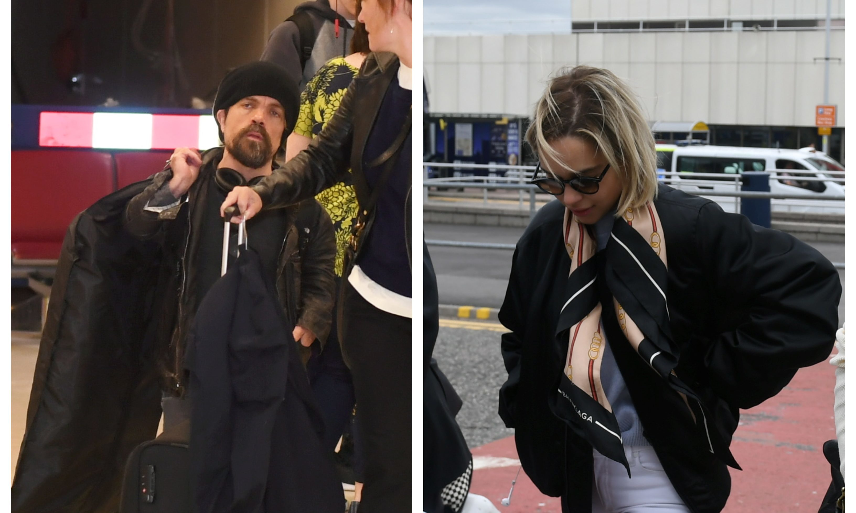 Peter Dinklage and Emilia Clarke both arrived at Aberdeen Airport.