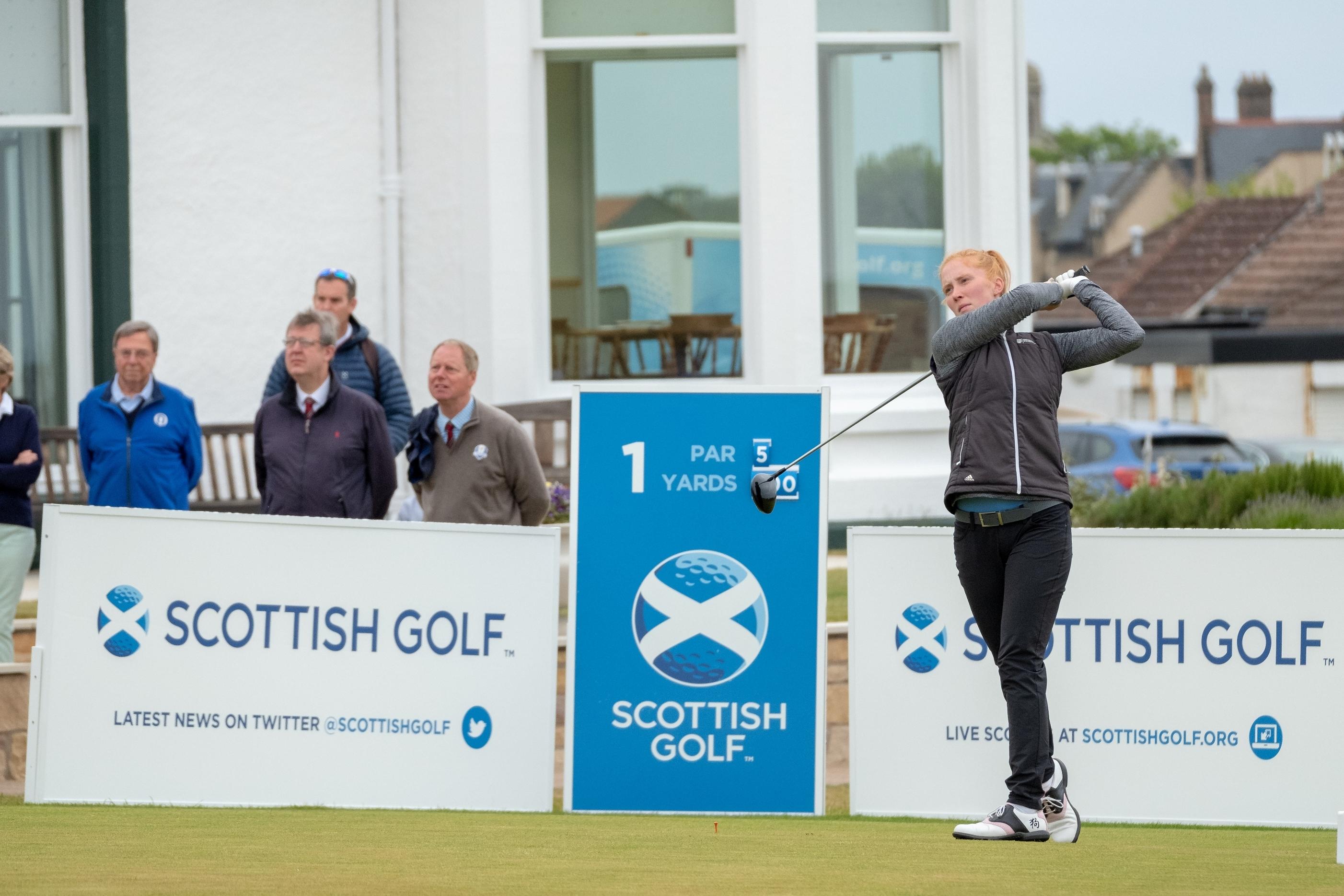 Gemma Batty gets Saturday's Scottish Women's final underway at Elie.