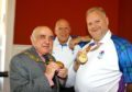 Darren Burnett (with gold medal) and Mike Mike Nicoll meet provost Ronnie Proctor.