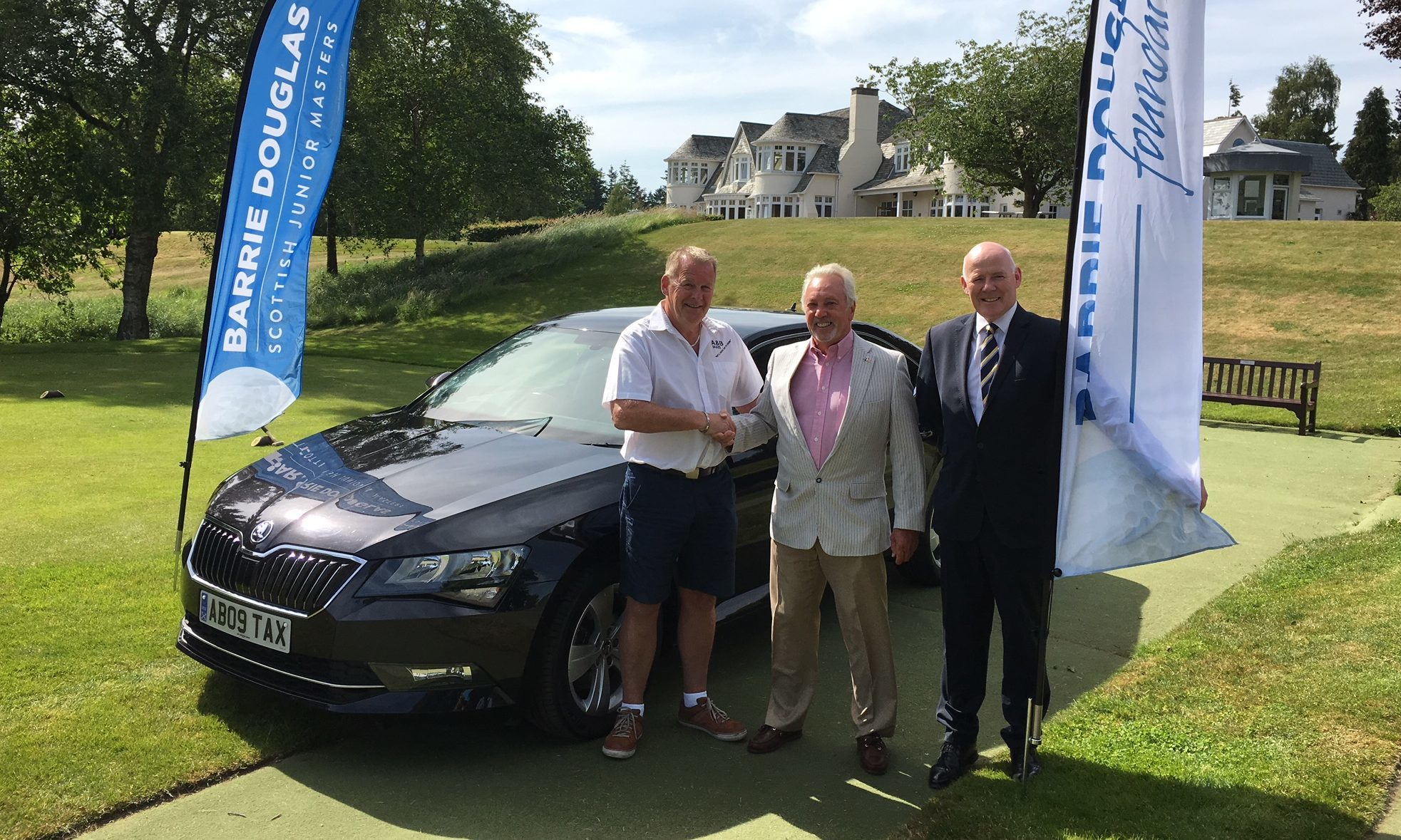 """Jimmy Turriff (left), director with team sponsors A&B Taxis, joins Blairgowrie club captain Brian Wesencraft (centre) and Charlie Gallagher of The Barrie Douglas Foundation for the launch of the """"Blairgowrie US Junior Invitational."""""""