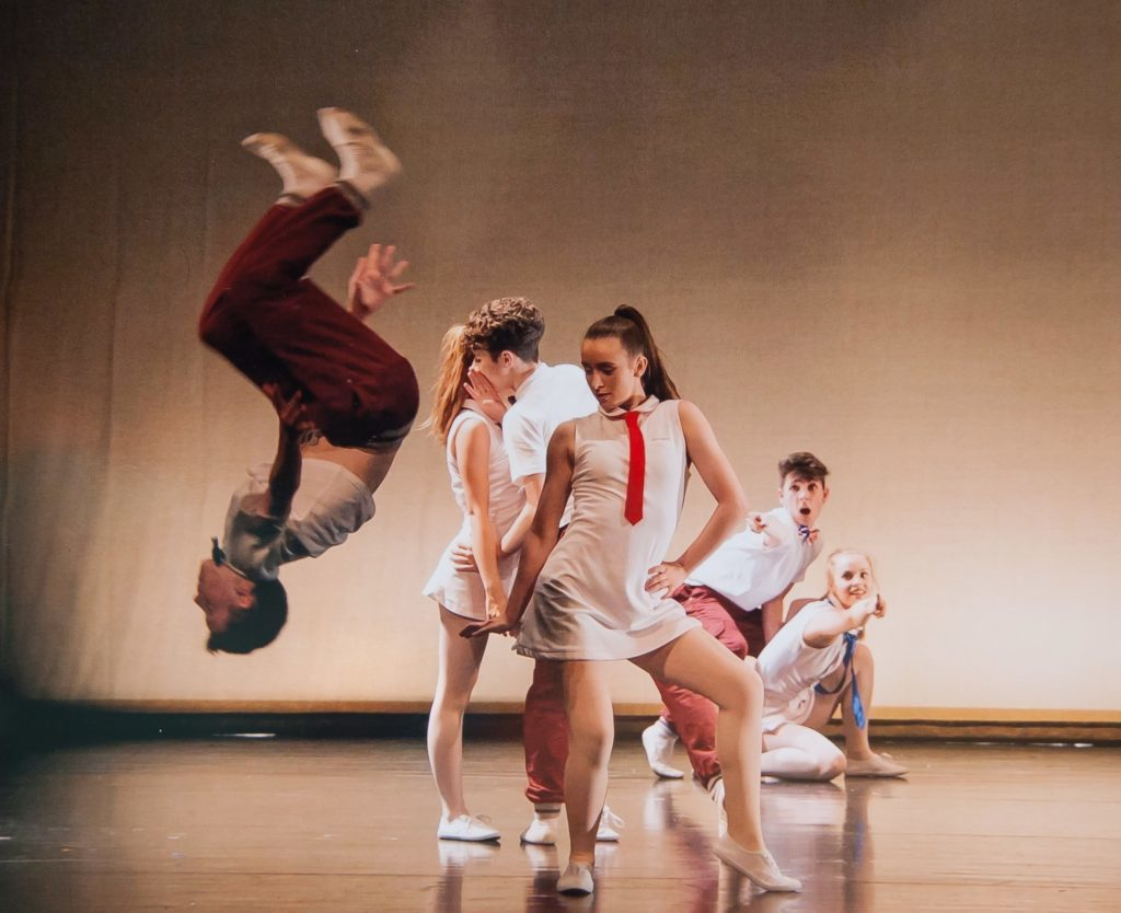 Rory Bell, aged 15, doing a back flip. He is younger brother of dancer Harris Bell.