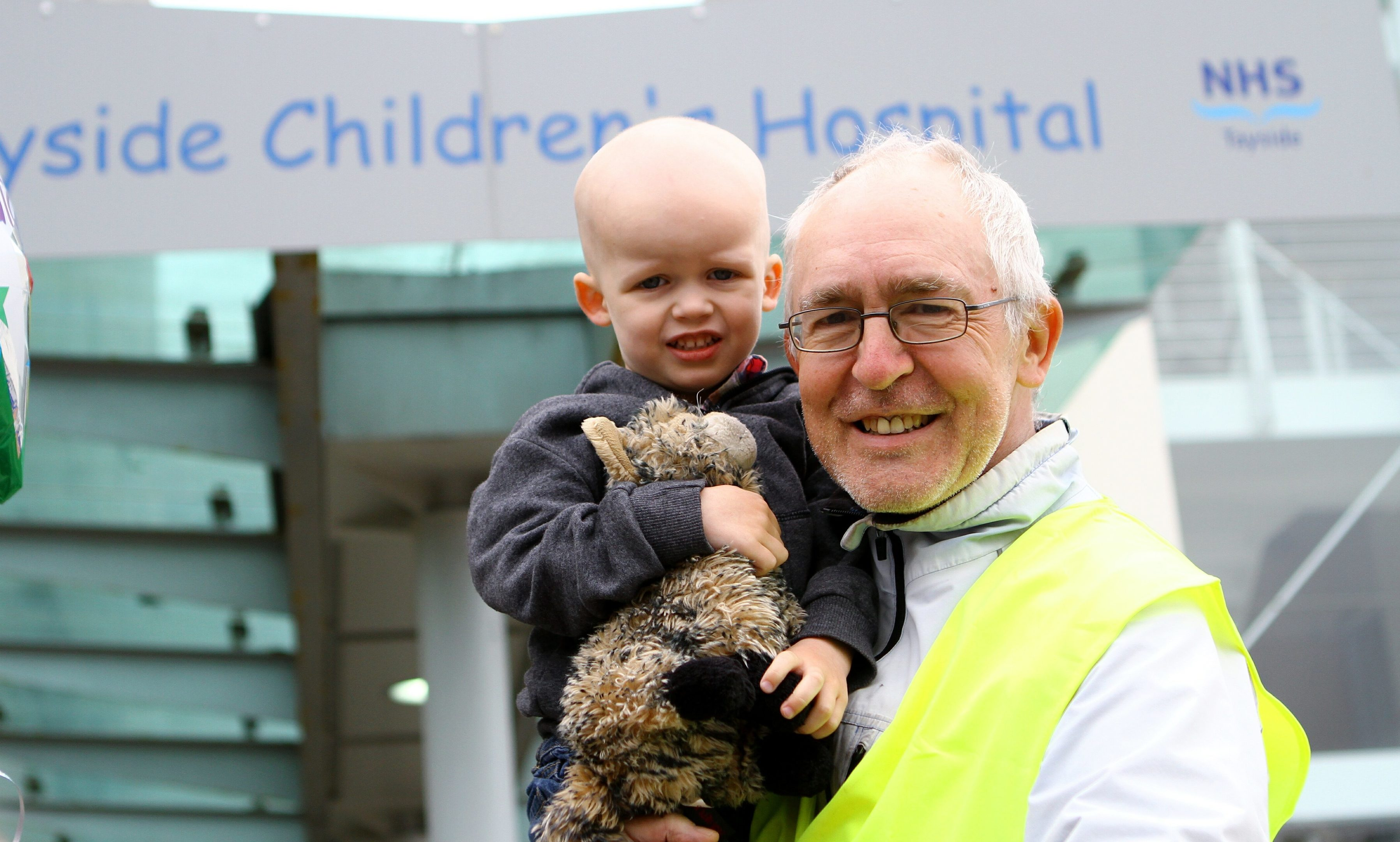 Jon Harle at the Tayside Children's Hospital with his grandson Ezekiel King, age 2.