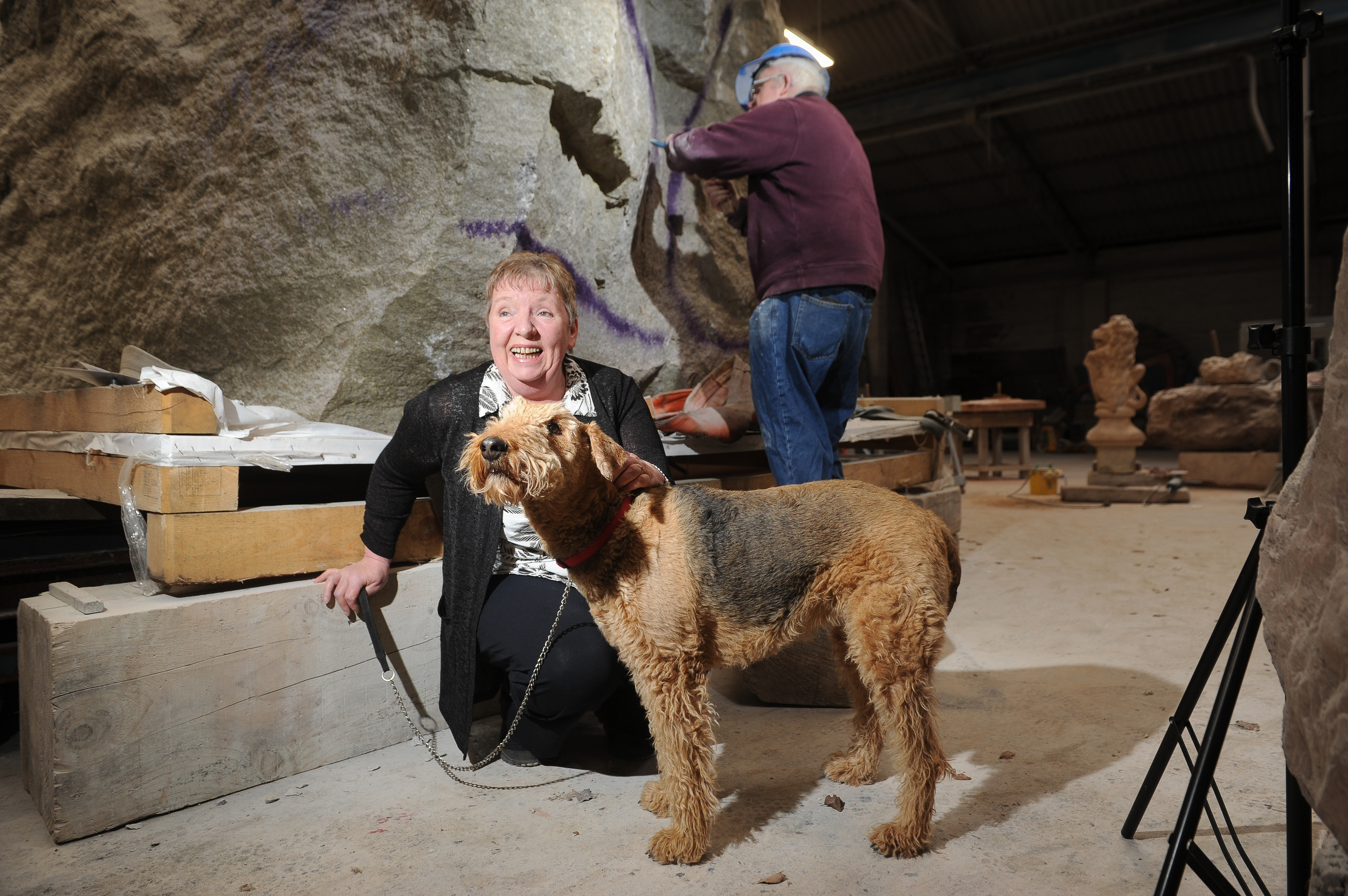 Wendy Turner with Peggy (rescued by Airedale Terrier Club of Scotland Breed Rescue) and Bruce Walker