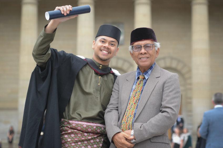 Abdul Hadi Haji Awang Masri and his father, Haji Awang Masri Haji Ajak.