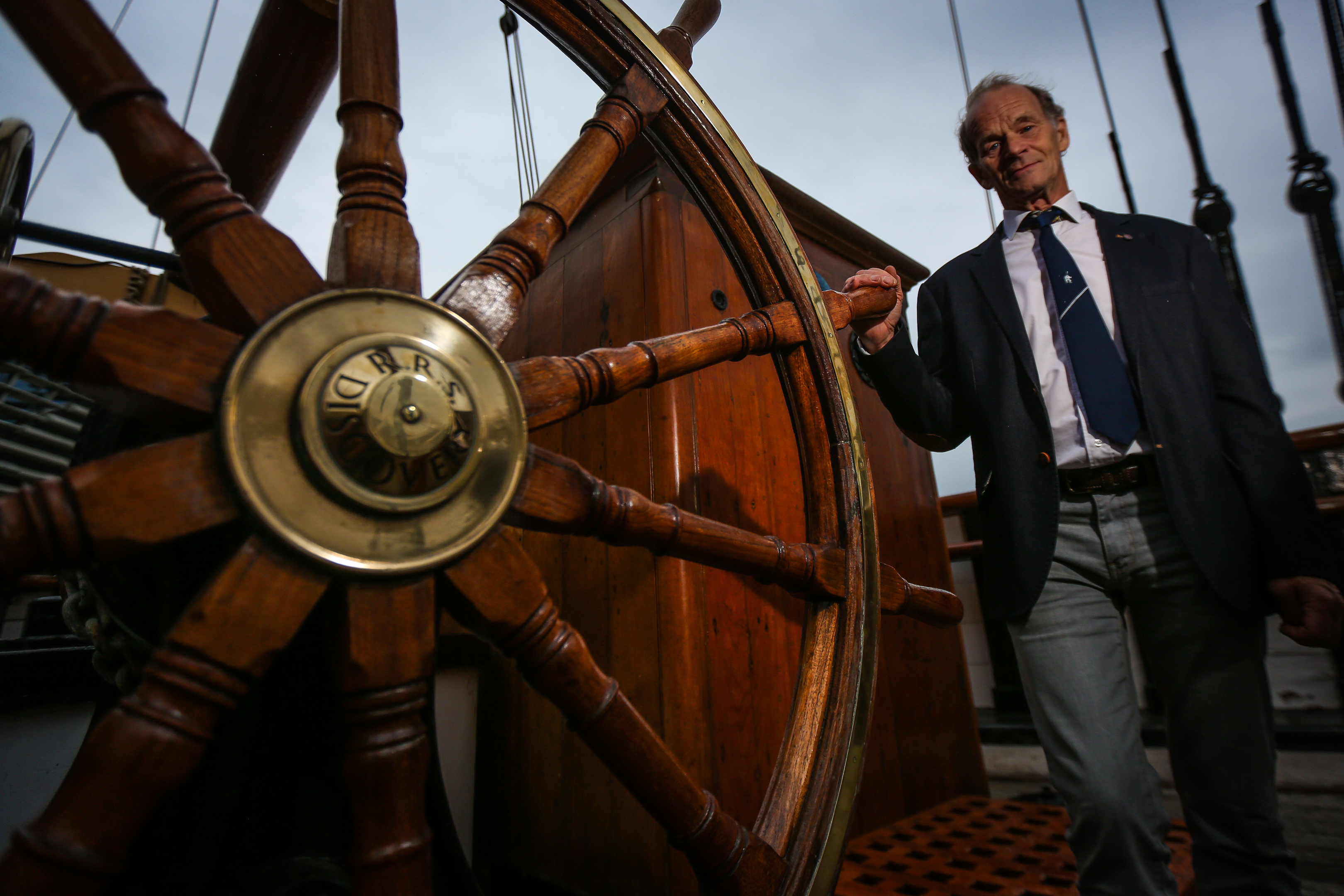 Falcon Scott, the grandson of legendary Antarctic explorer Captain Robert Falcon Scott, on board RRS Discovery before he officially opens the newly refurbished conference suite and museum galleries at Discovery Point.