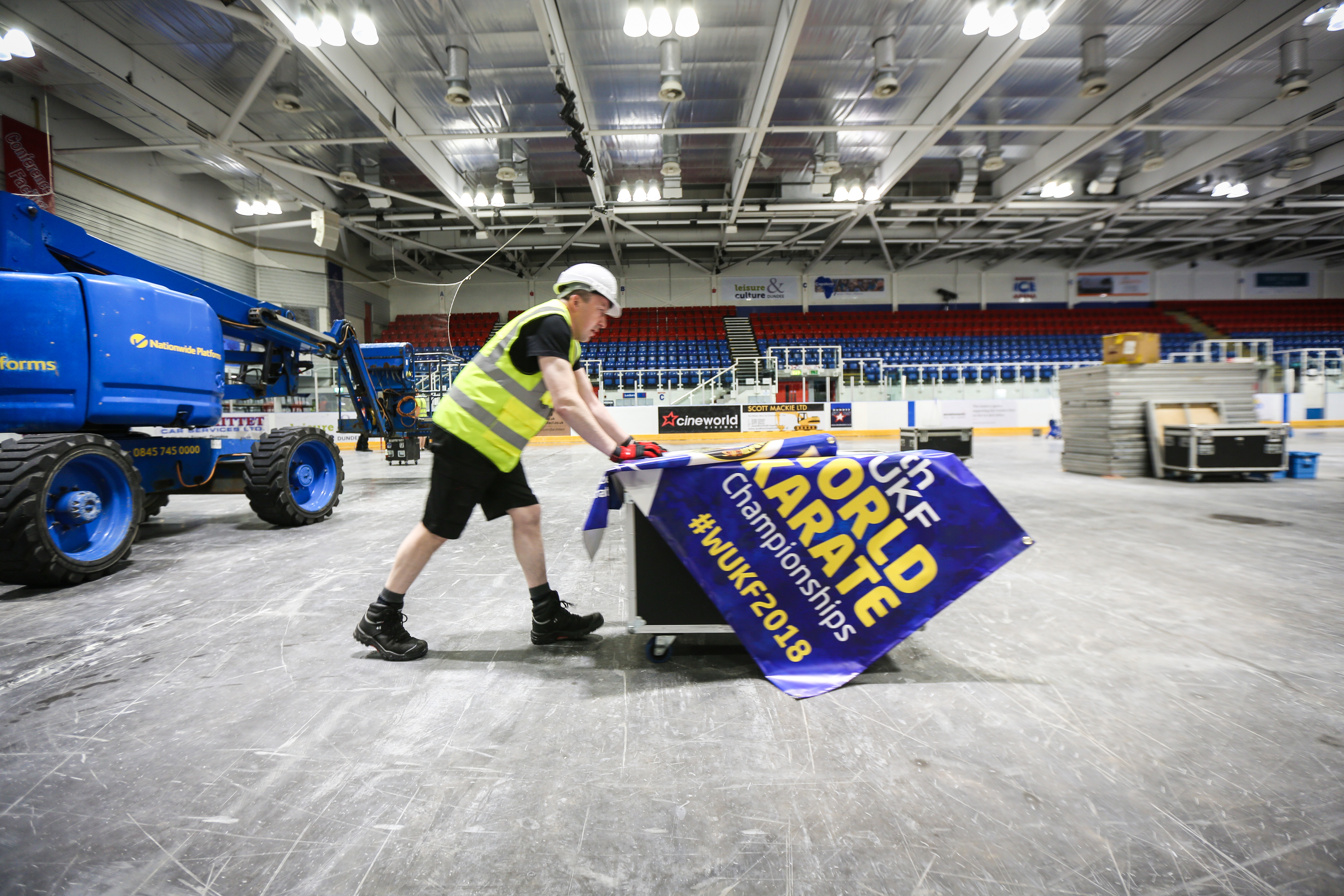 Ross McGill, event venue lead, helping work to transform Dundee Ice Arena for the WUKF world Championships