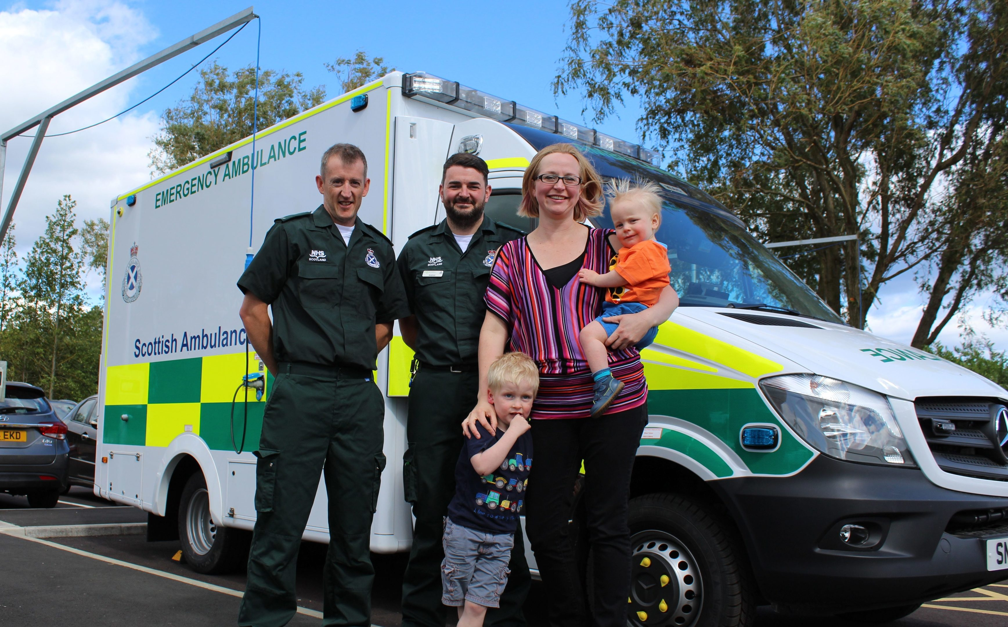 Keryn with sons, Torin, 3,and Keldan, 15 months, with Richard Garside, left, and Andrew Paterson