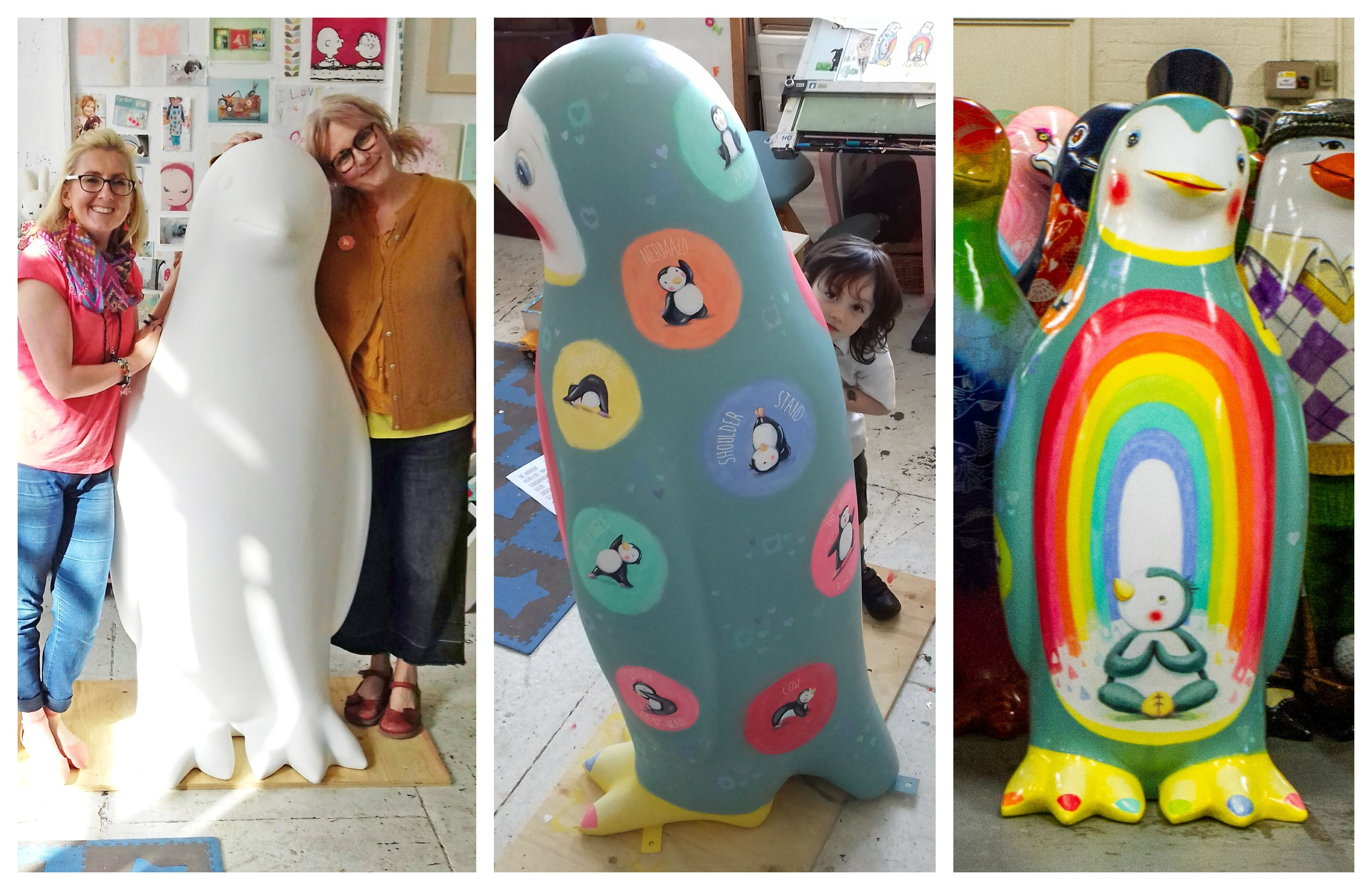 The Maggie's penguin inspired by Fi Munro. Pictures show  LindseyGardiner and Fi Miunro, Harris Weir with the penguin and the finished sculpture.