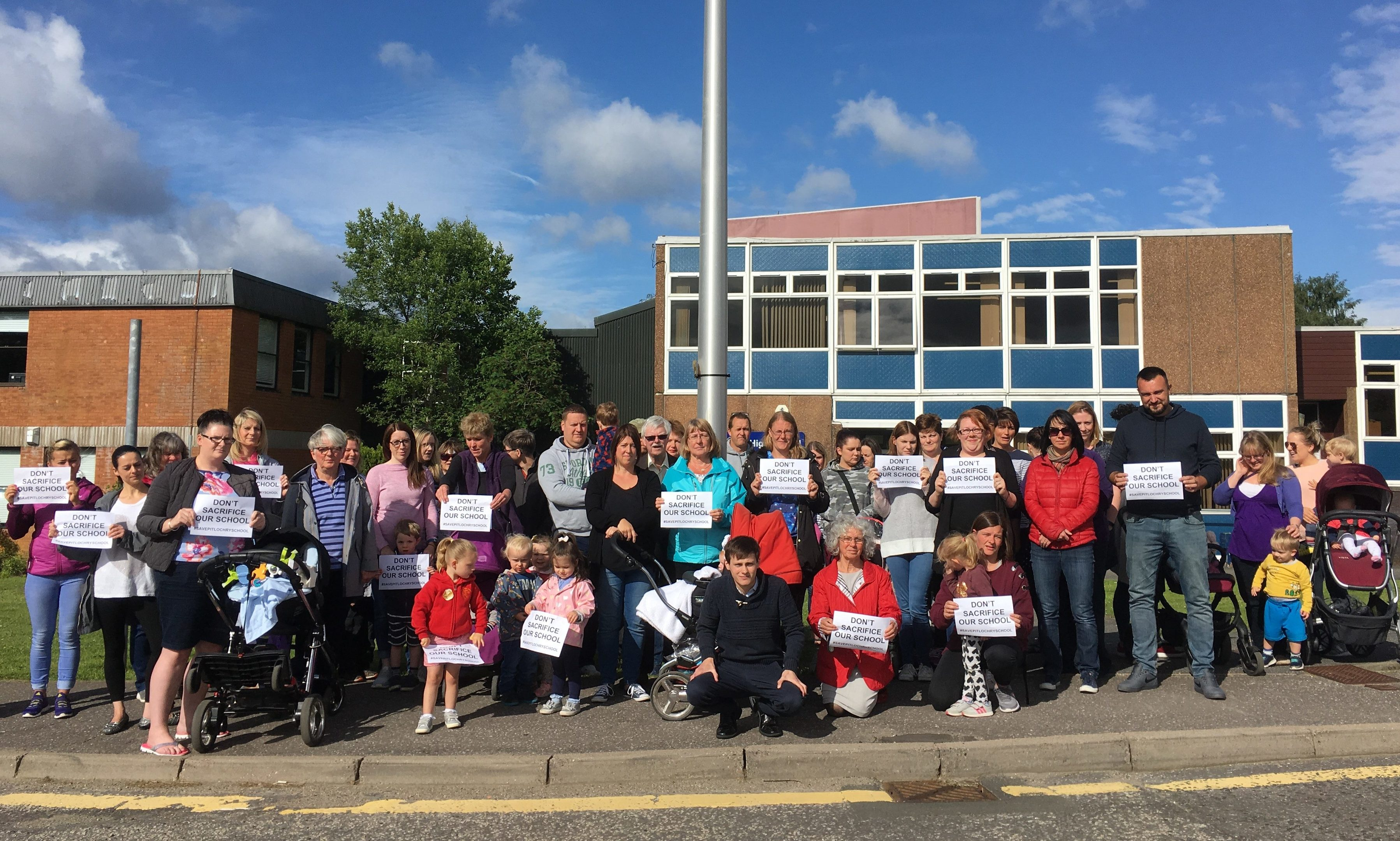 Protesting parents gather at Pitlochry School.