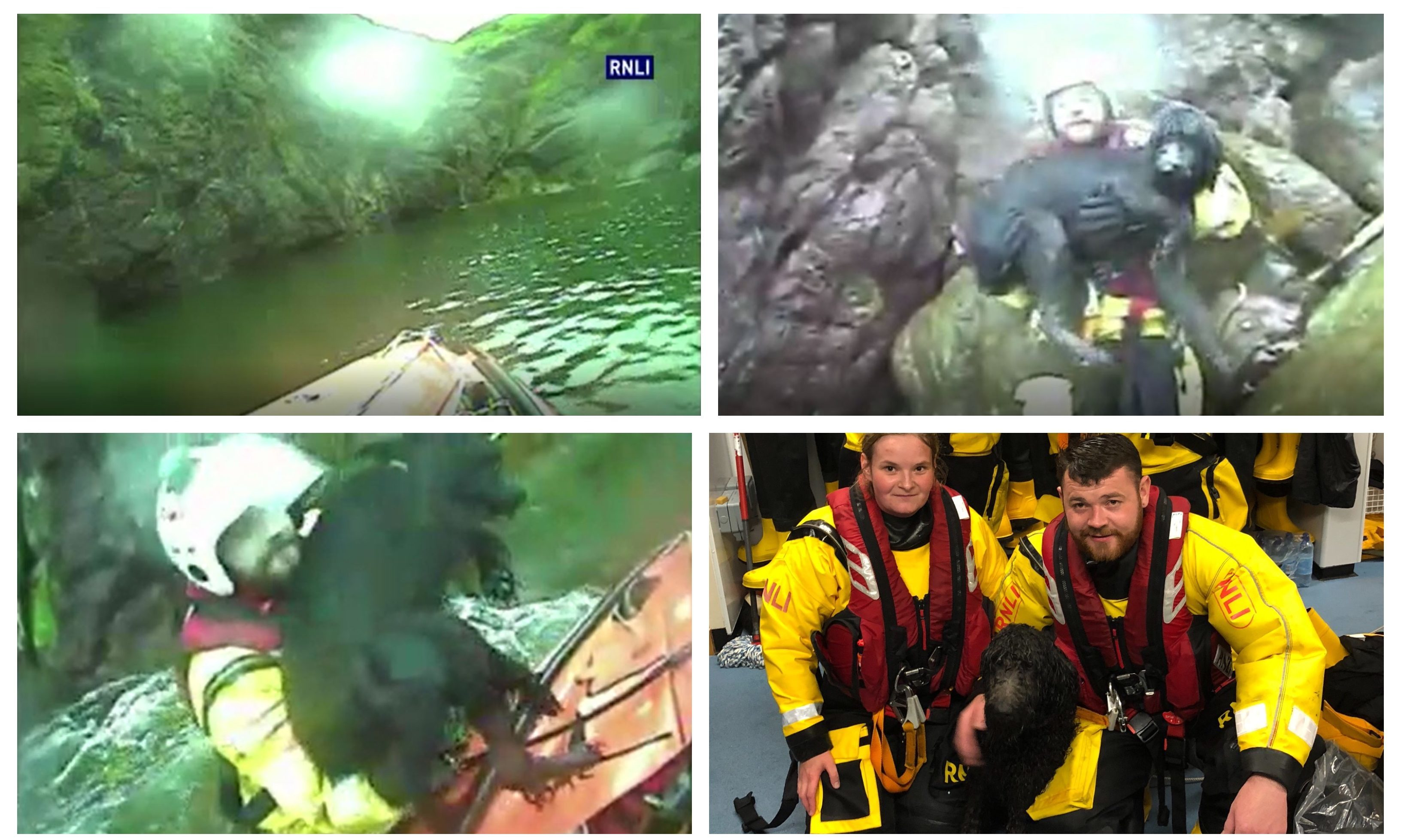 The rescue of Freya the dog by the RNLI crew at Eyemouth